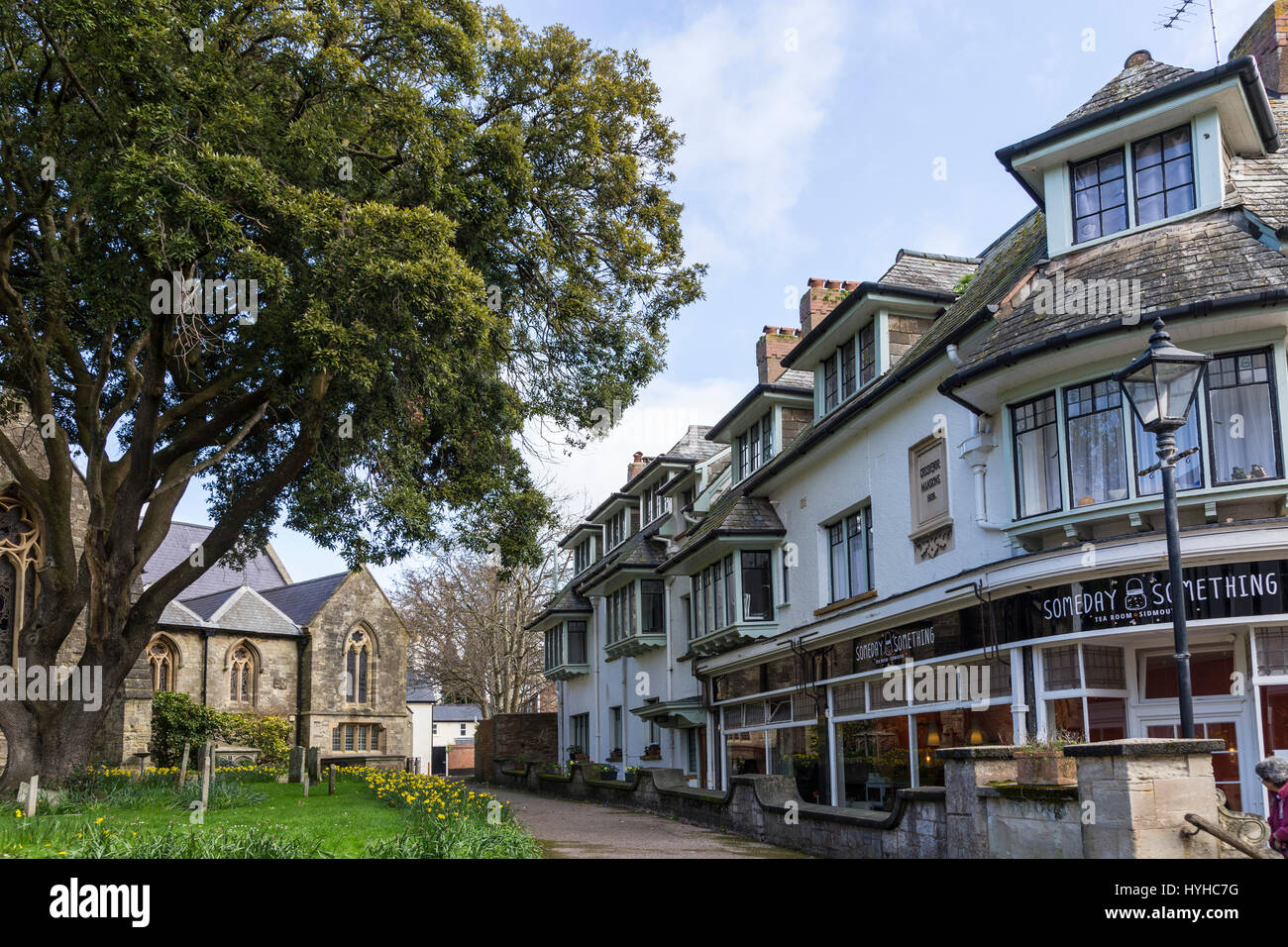 View of Church Lane,Sidmouth,a walkway from Church Street, alongside the parish church of St Giles and St Nicholas. - Stock Image