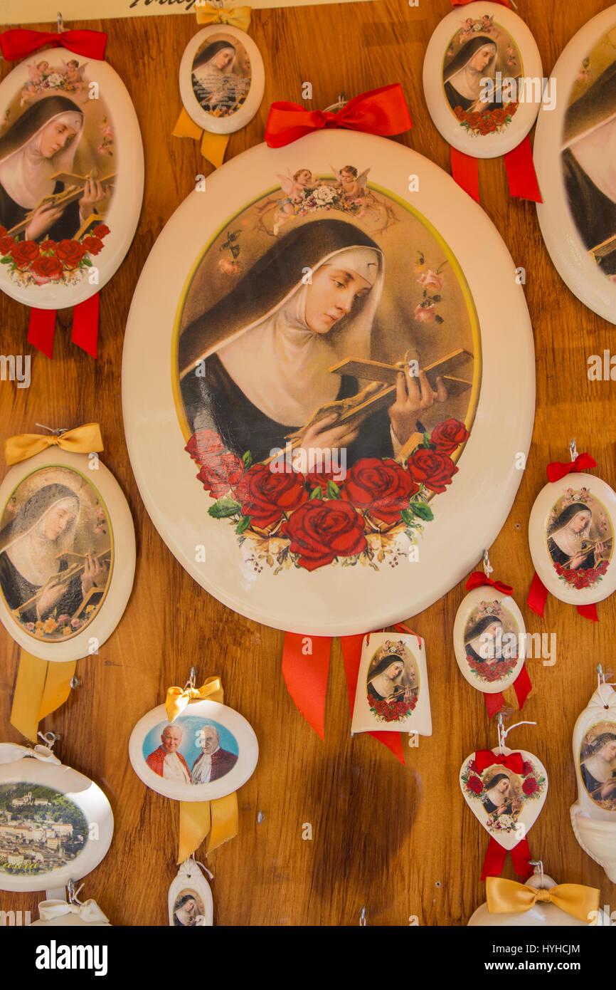 Souvenirs with the image of St. Rita of Cascia - Stock Image