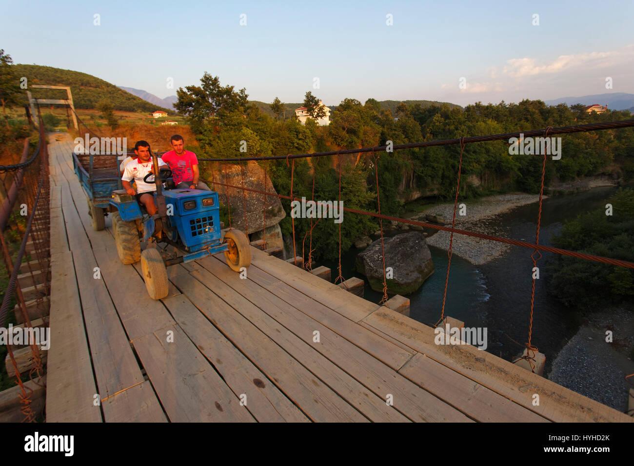 Hanging bridge in Albania - Stock Image