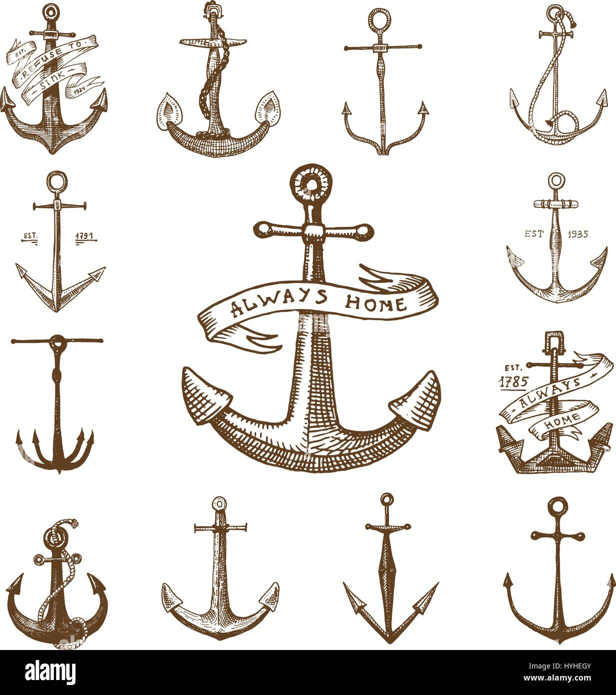febdbfaeb Anchor engraved vintage in old hand drawn or tattoo style, drawing for  marine, aquatic or nautical theme, wood cut, blue logo.