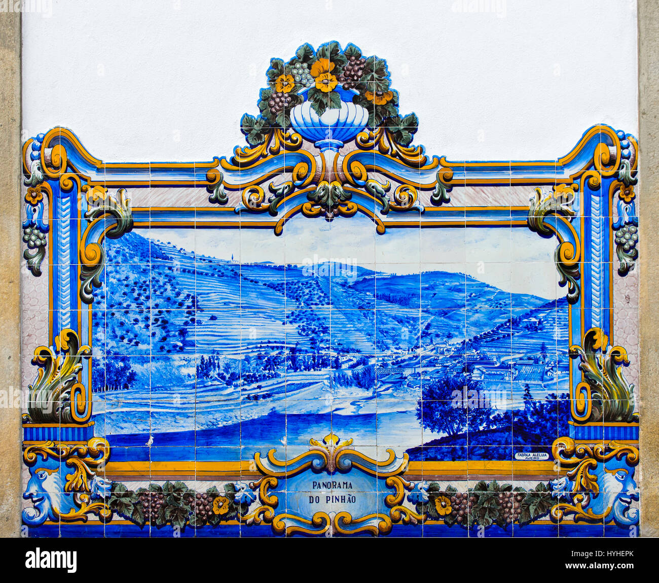 Historic ceramic tiles, azulejos, depicting the panorama of Pinhao with river and vineyards, Pinhao, Douro Valley, - Stock Image