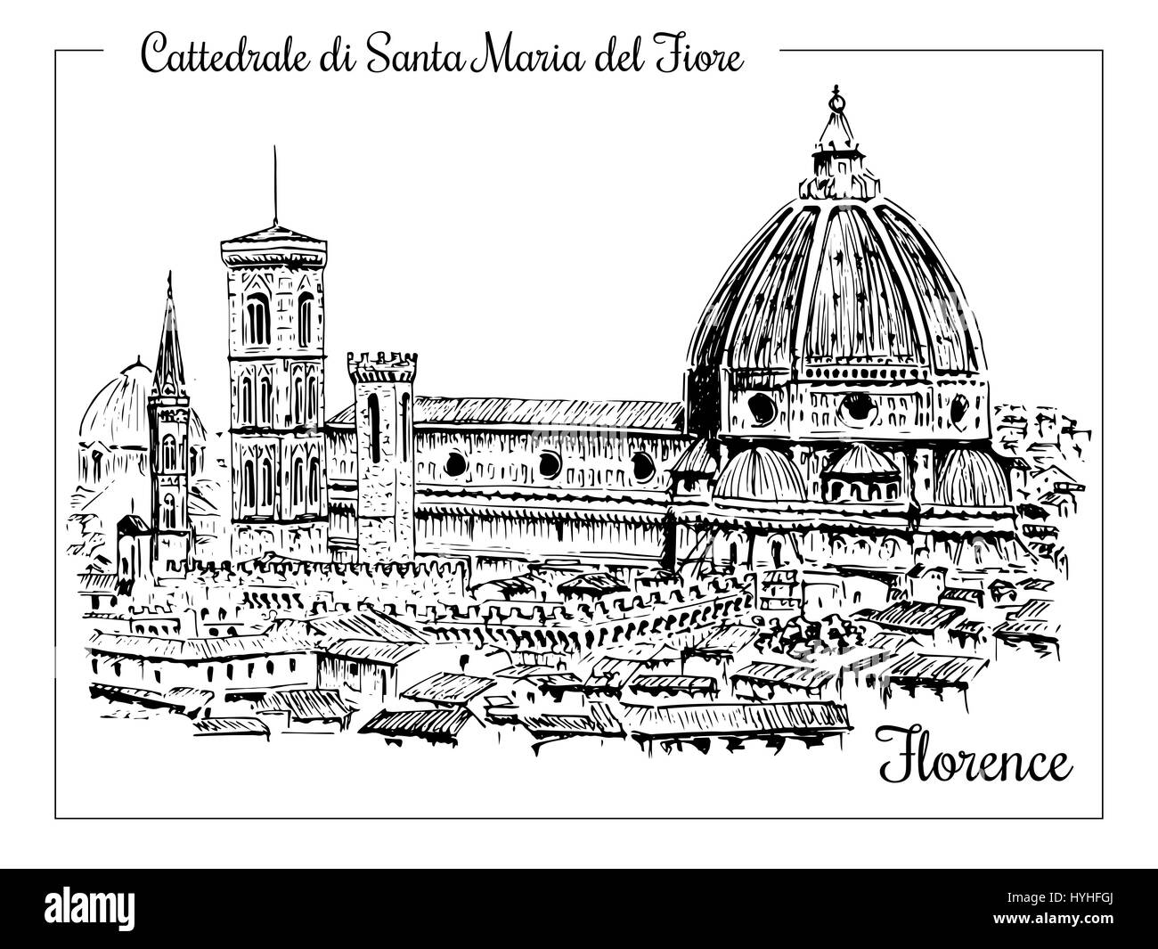 Cathedral in Florence, Italy. Vector hand drawn sketch - Stock Image