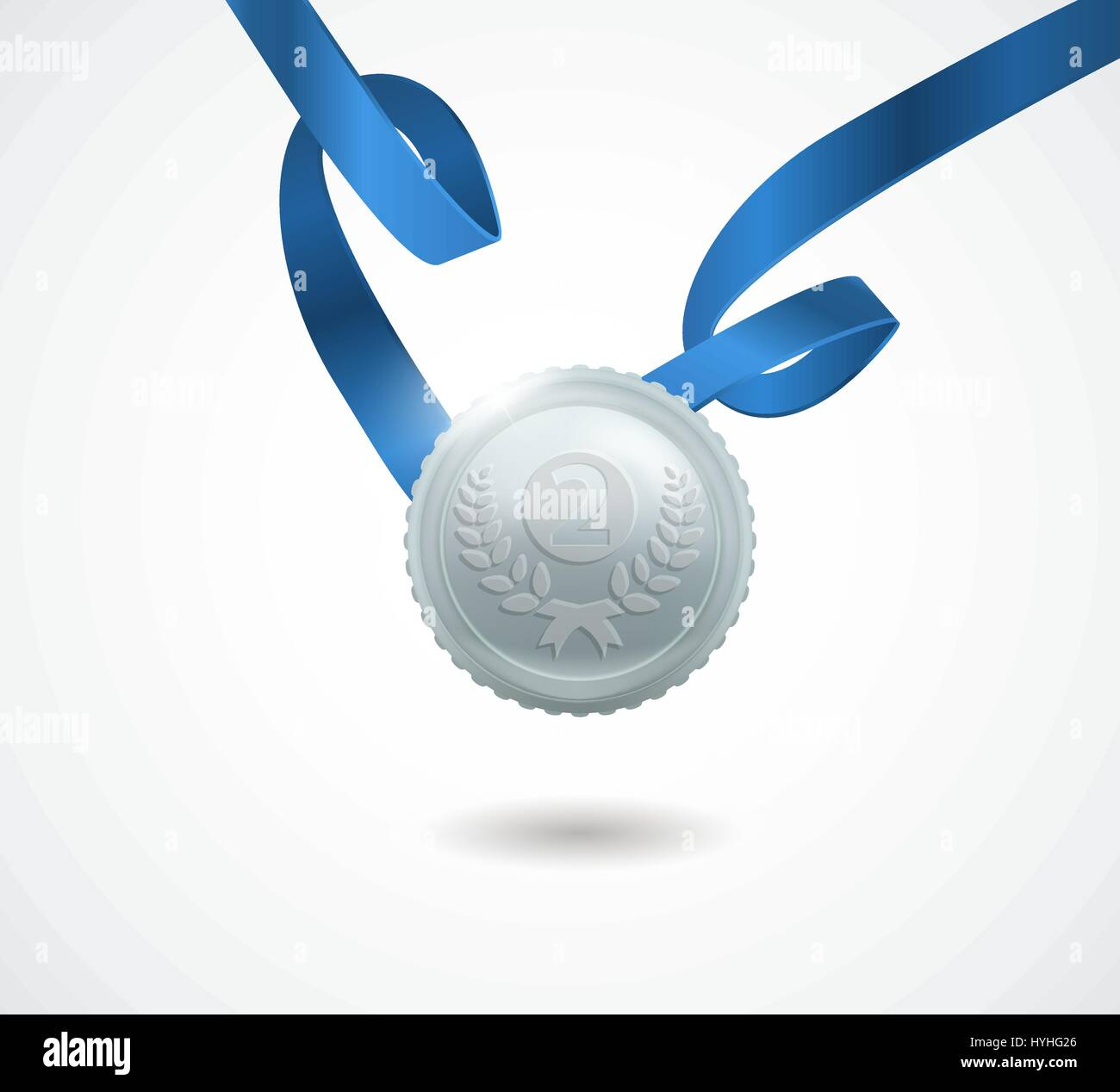 Champion silver medal with ribbon on white background. Vector illustration. - Stock Vector