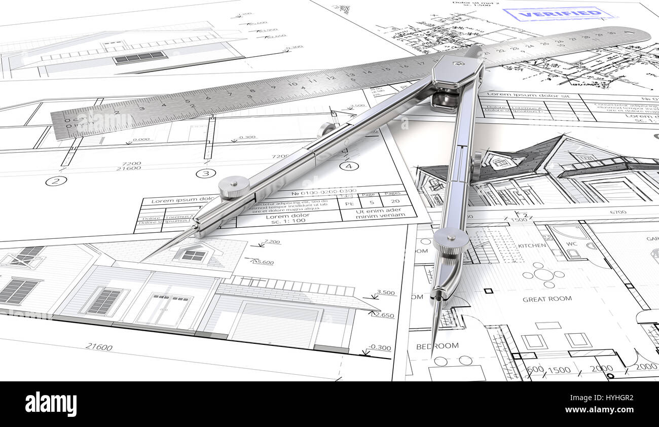 Architectural sketches stock photos architectural sketches stock architectural blueprints drawings and sketches ruler and divider of metal 3d render malvernweather Image collections