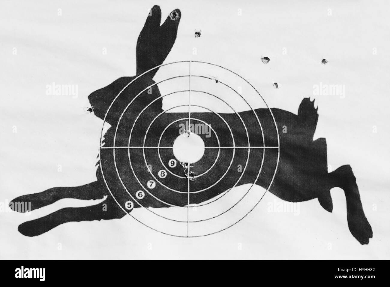 Black and white photo The shot target for shooting from a pneumatic in the form of a hare. Stock Photo