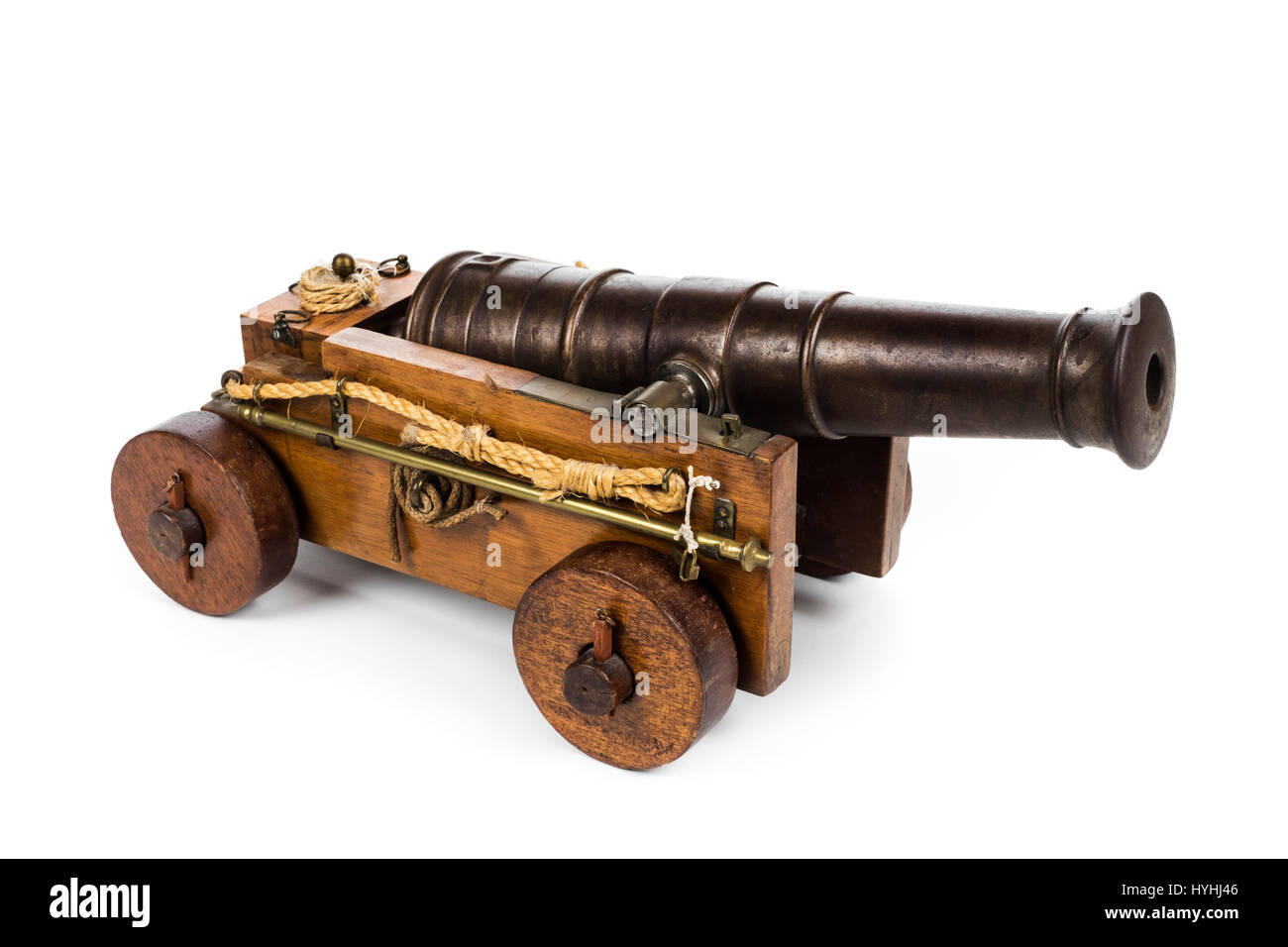 British naval signal cannon with 40cm iron barrel, flared muzzle and trunnion on a mahogany four-wheel carriage. - Stock Image