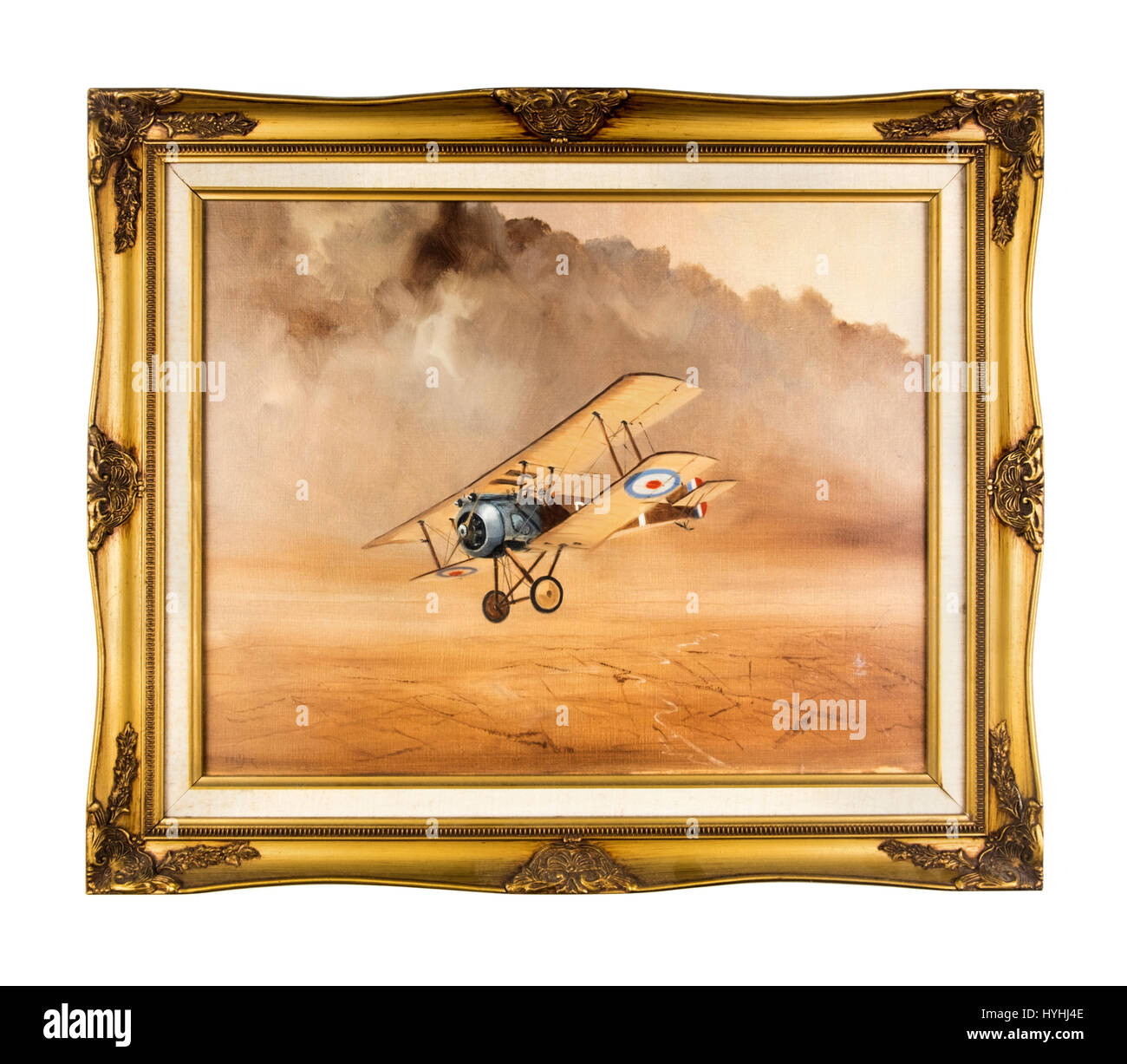 Oil on canvas by Brian Palmer in gilt frame, showing a WW1 British Royal Flying Corps Sopwith 'Pup' (Scout) biplane Stock Photo