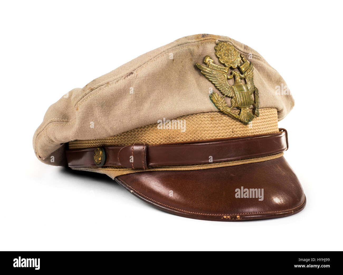 WWII US Army Officer's hat belonging to Lieutenant G.W. Fitzgerald and made by Rancroft Uniform Headwear - Stock Image