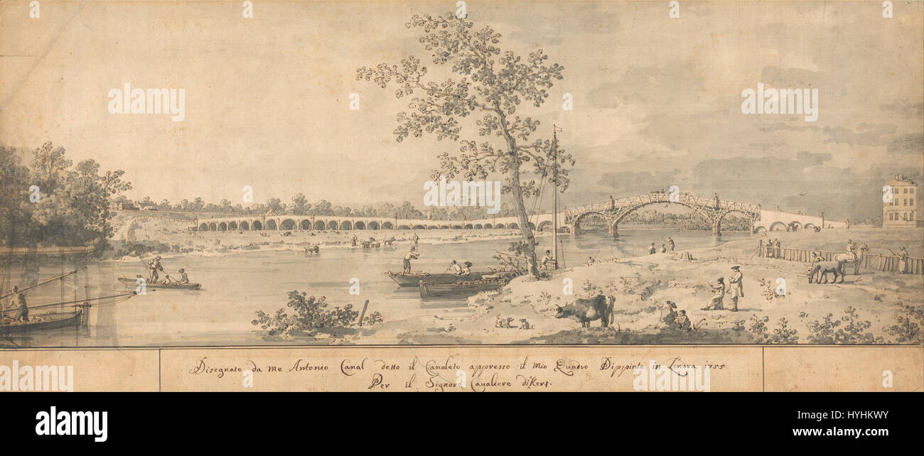 Canaletto   Old Walton Bridge seen from the Middlesex Shore   Google Art Project - Stock Image