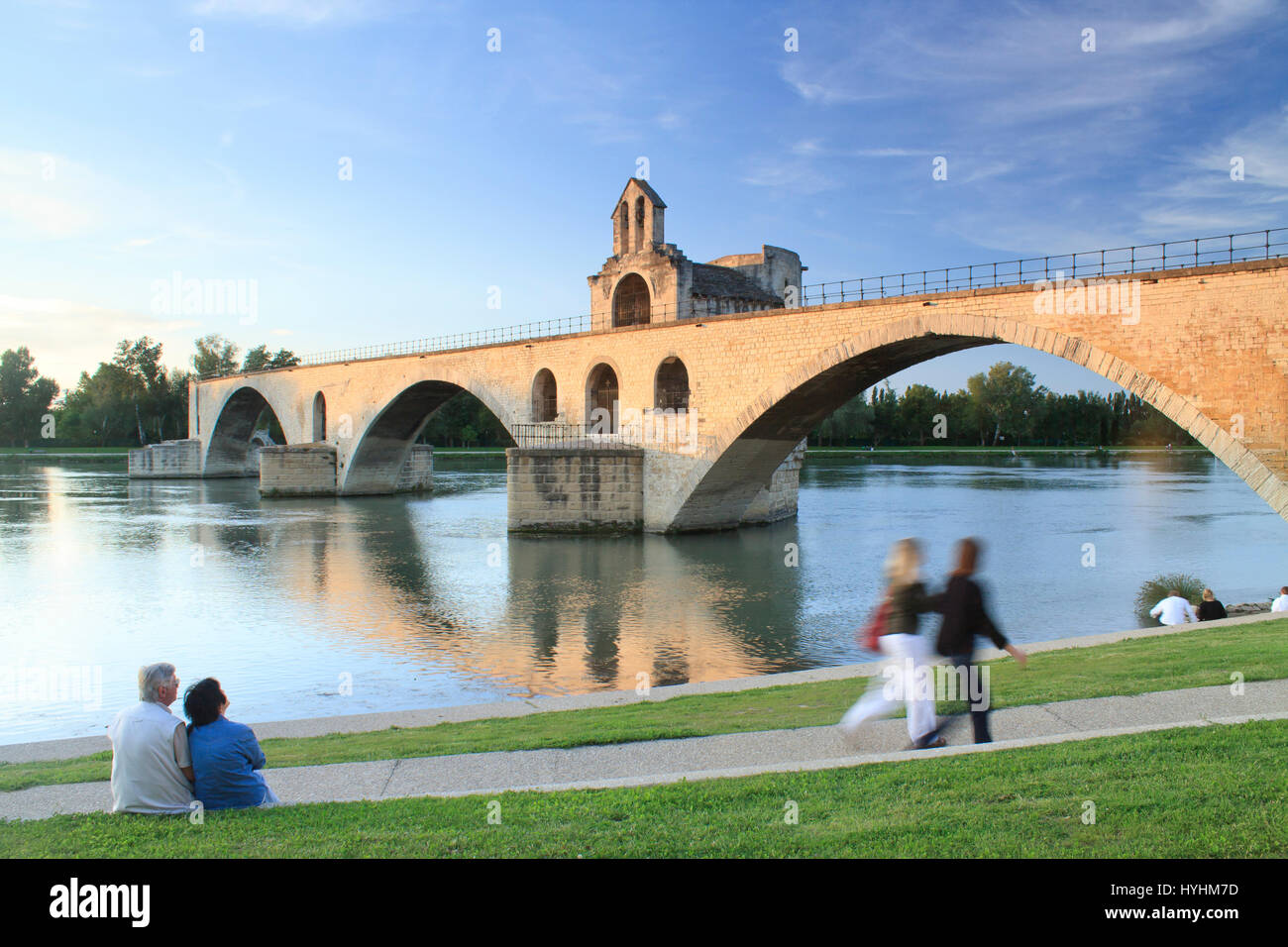 France, Vaucluse, Avignon, bridge St Benezet and the Chapel St Nicolas evening - Stock Image