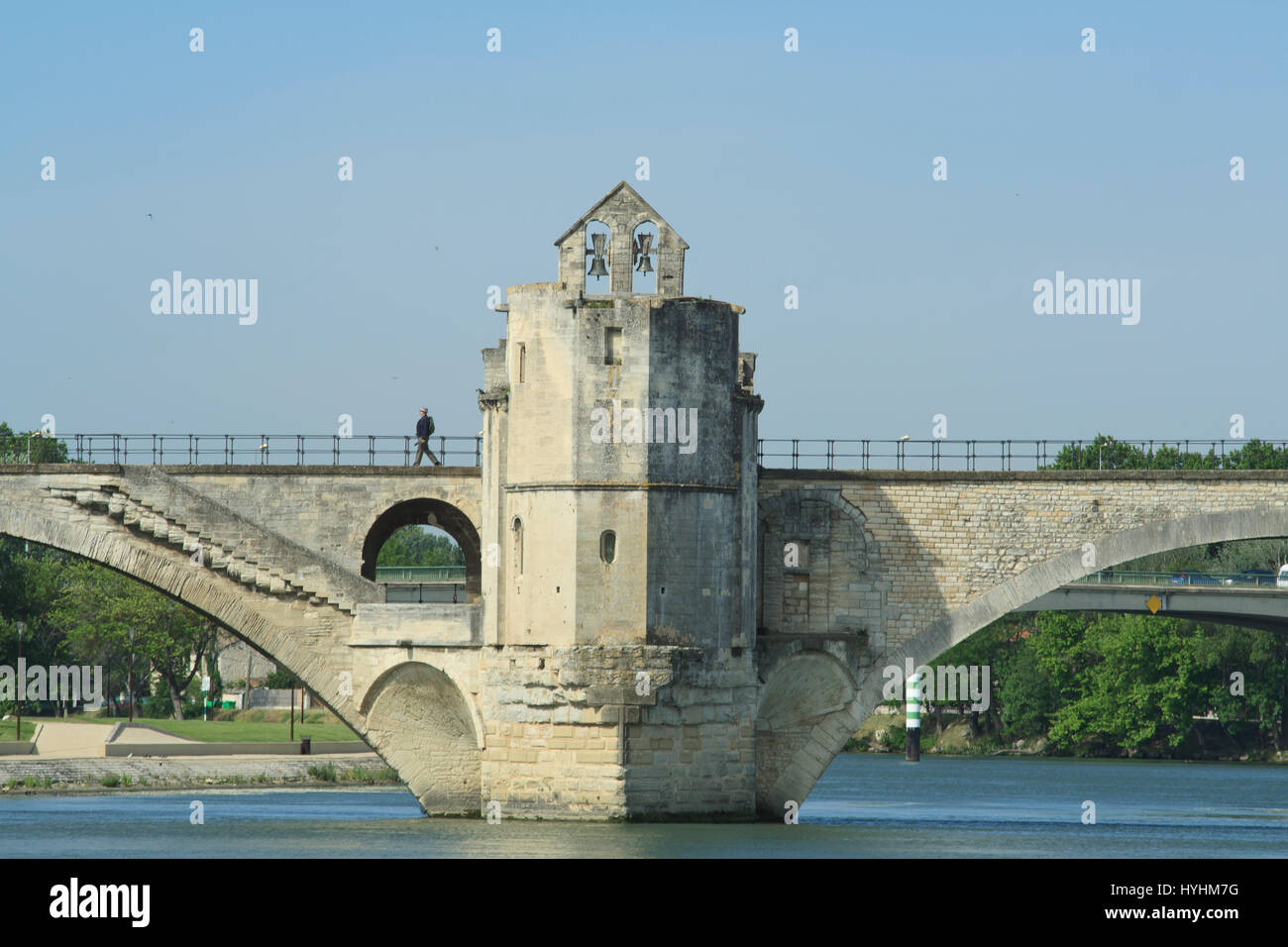 France, Vaucluse, Avignon, bridge St Benezet and the Chapel Saint Nicolas - Stock Image