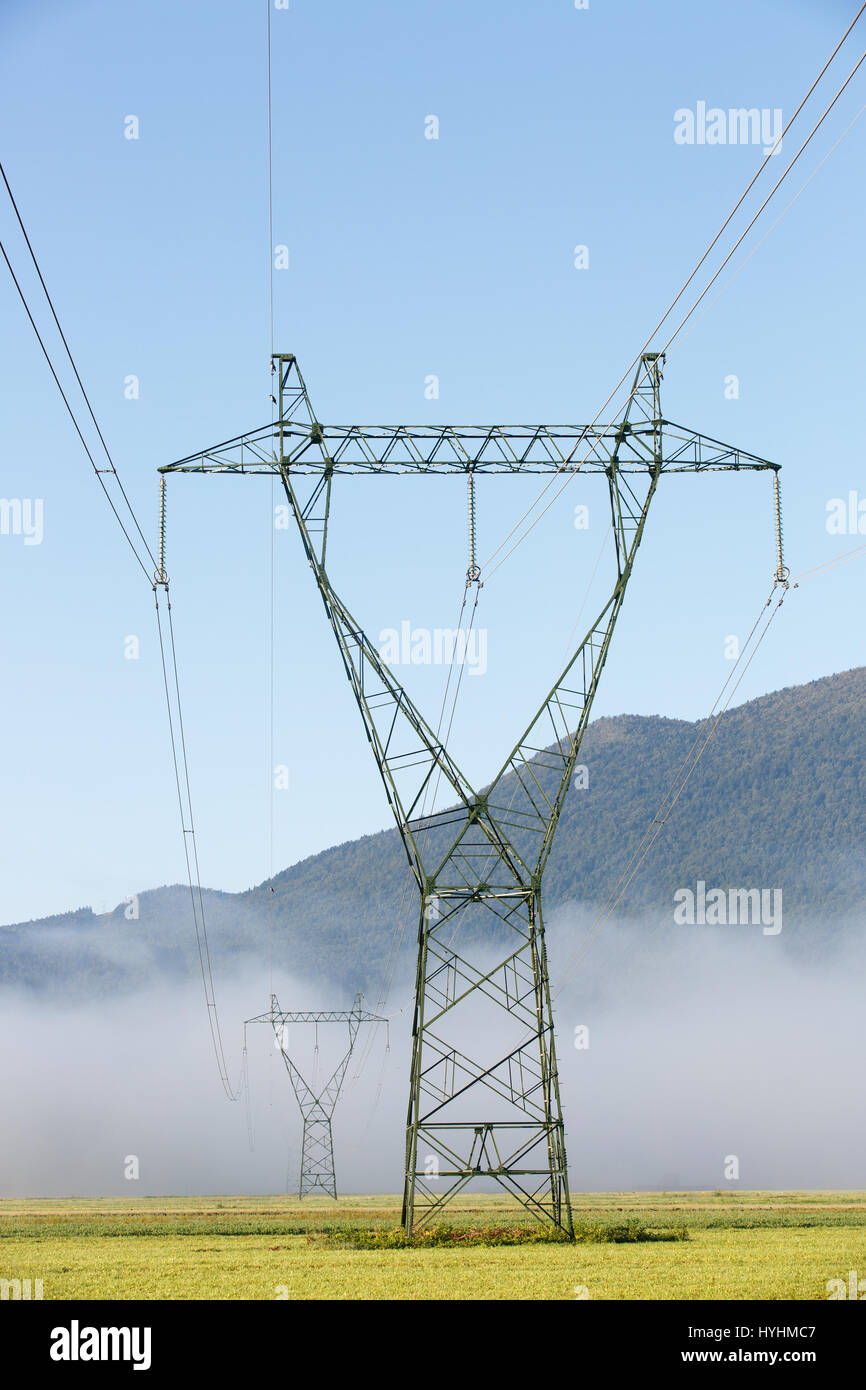 Big electricity high voltage pylons with power lines on a green grass in a foggy morning. Sustainable resources, - Stock Image