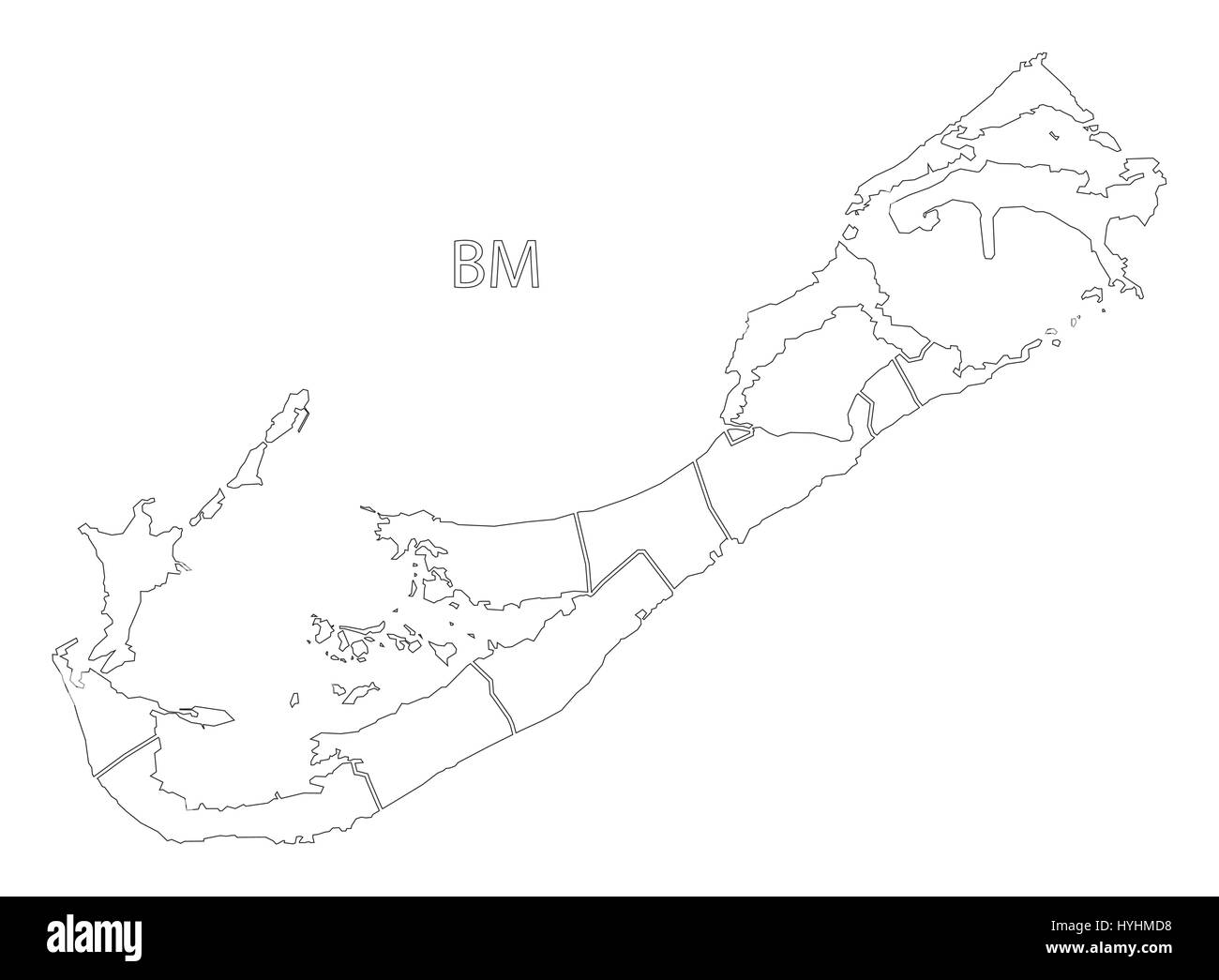 Bermuda outline silhouette map illustration with parishes Stock ...