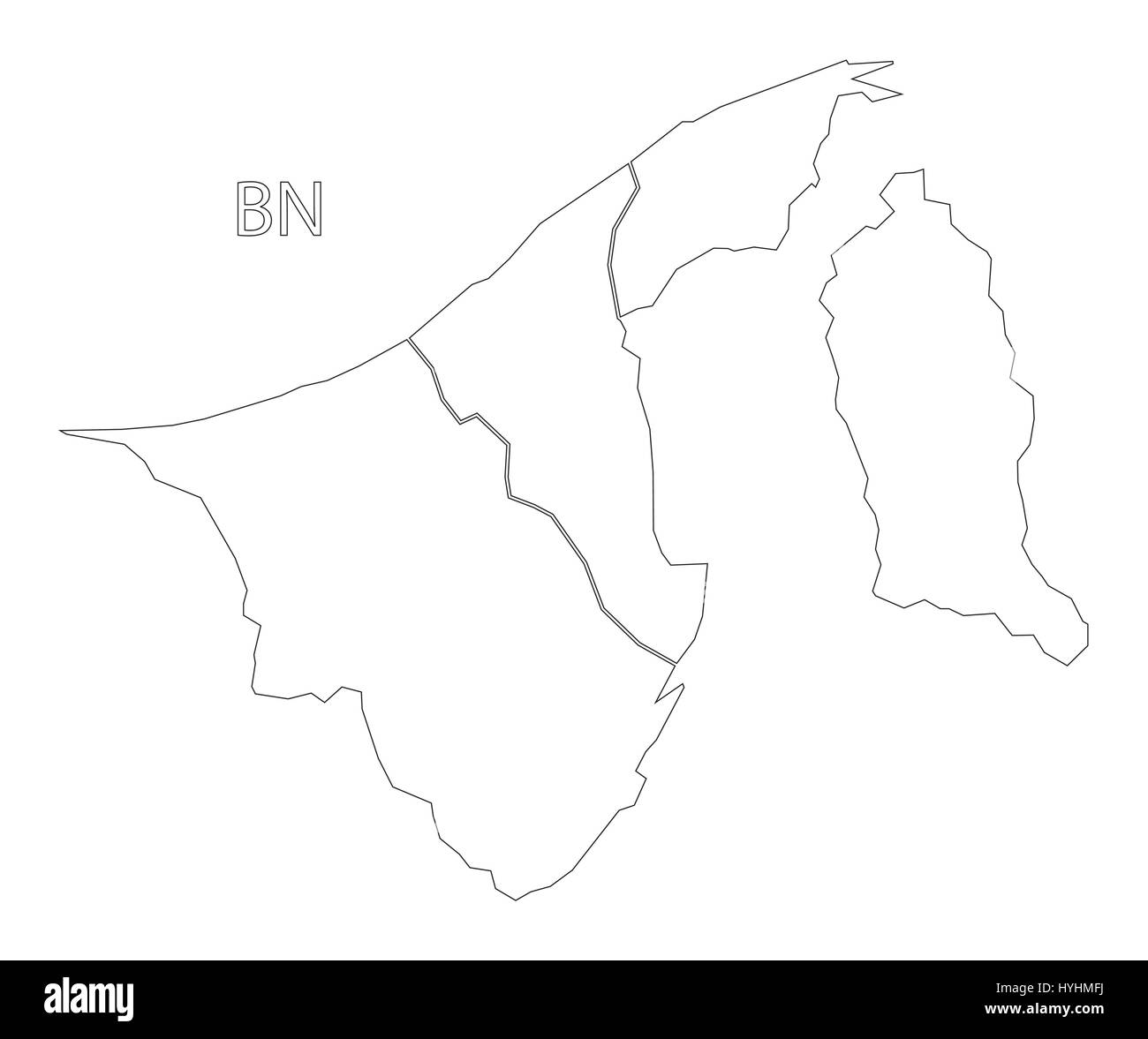 Brunei outline silhouette map illustration with districts - Stock Image