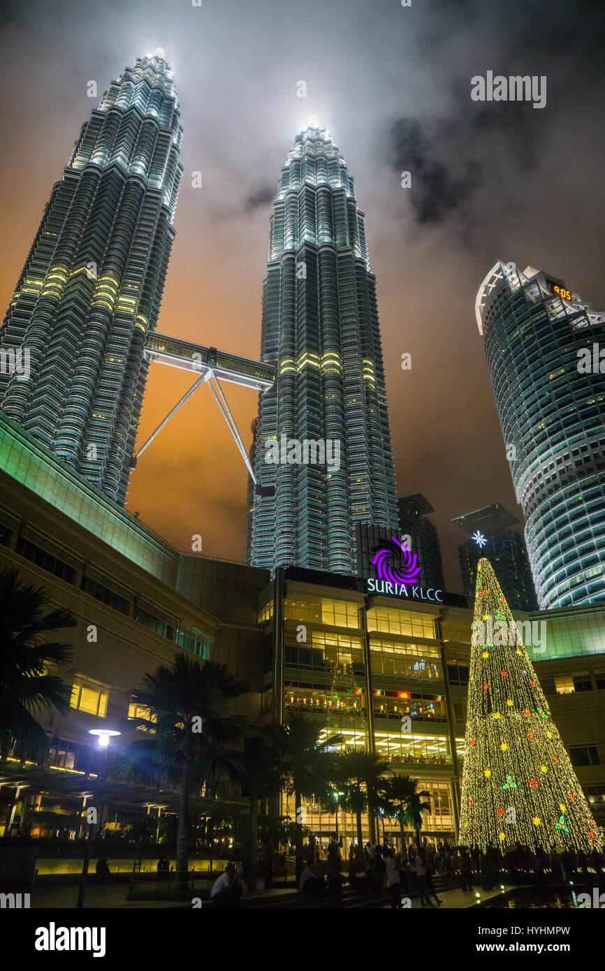 Petronas Towers at night during Christmas Stock Photo