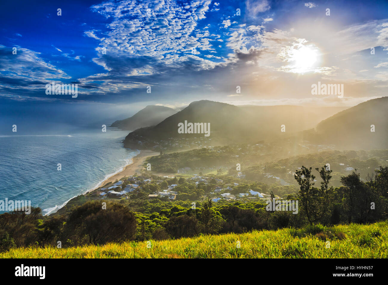 Stanwell tops bald hill top looking south towards Sea Cliff Bridge and Illawarra highlands area along Grand Pacific - Stock Image