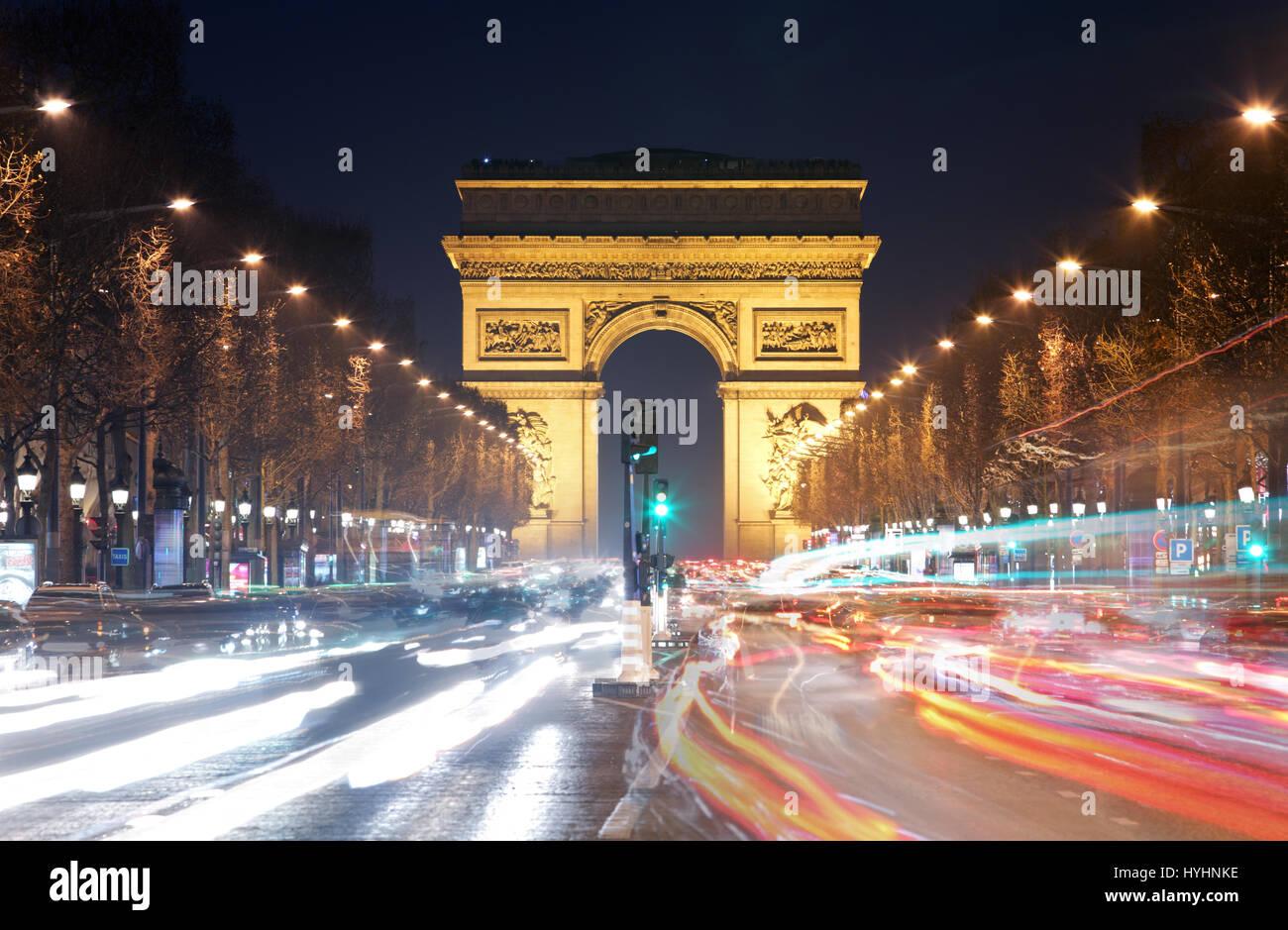 Arc de triomphe Paris city at sunset - Stock Image