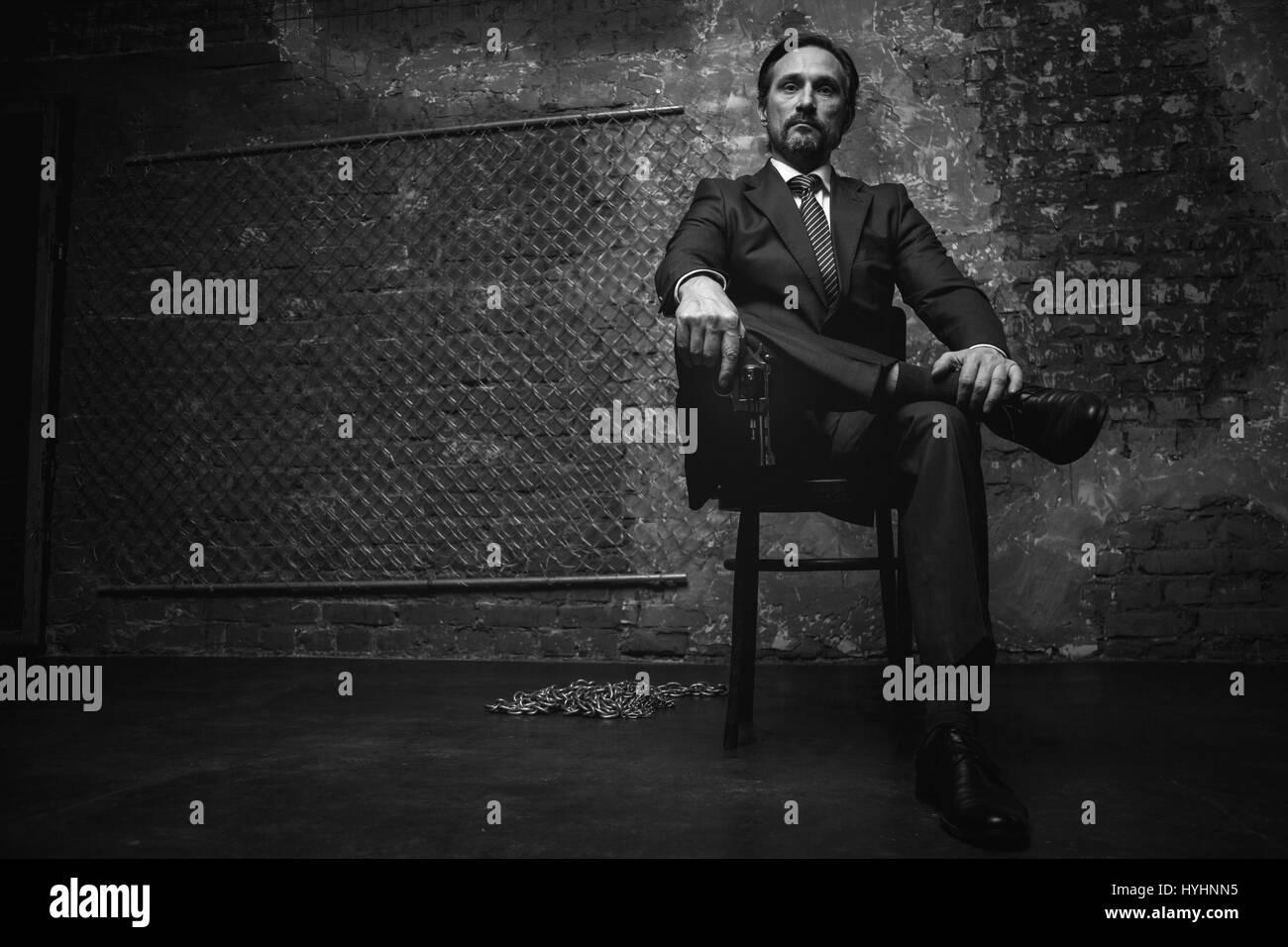 Portrait of a big mafia boss - Stock Image