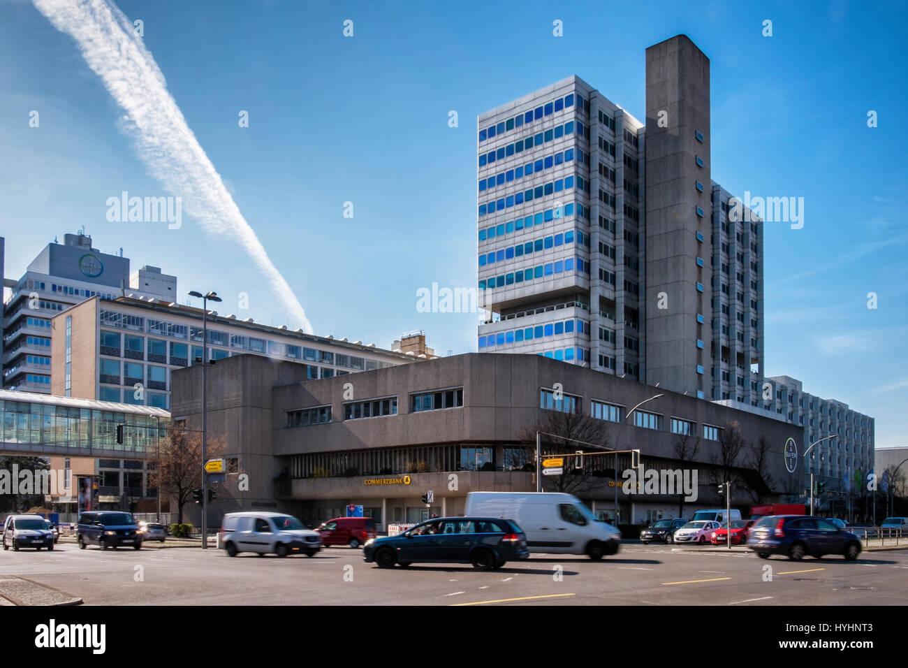 Berlin, Germany. Bayer Pharma AG building exterior. Pharmaceutical company offices and laboratories,Business makes - Stock Image