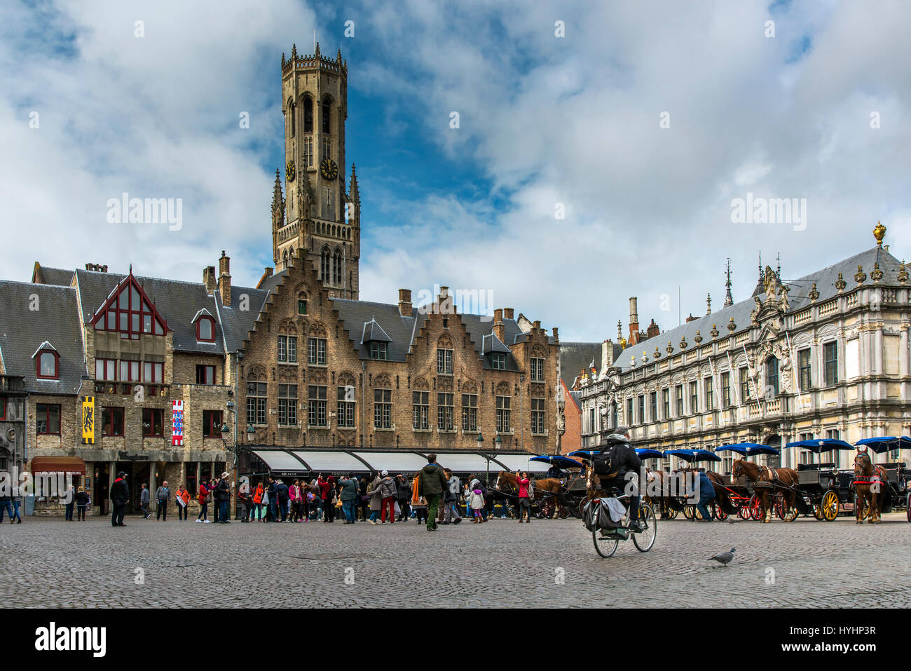 Burg square with Belfort tower in the background, Bruges, West Flanders, Belgium - Stock Image