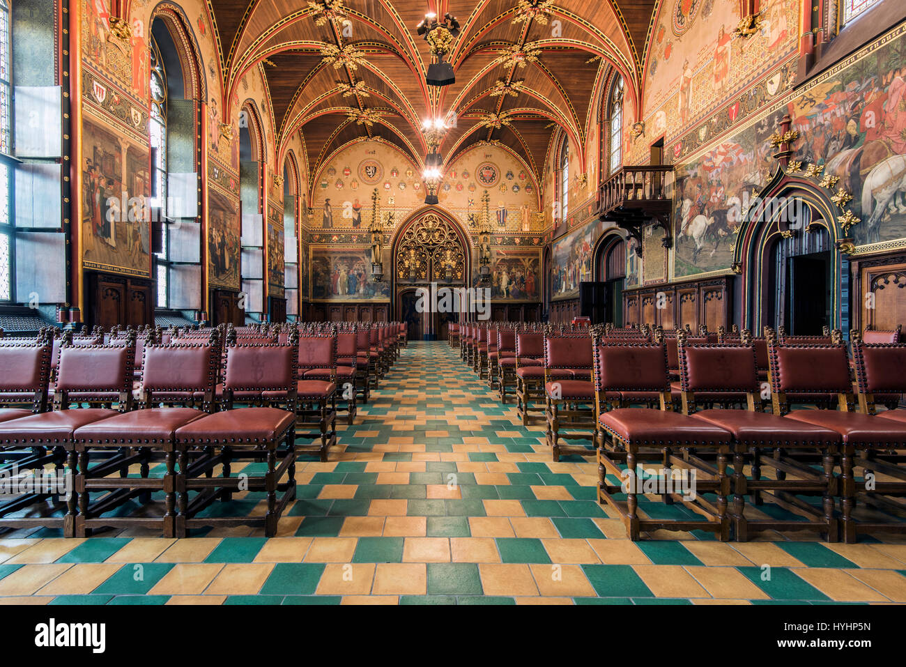 Gothic Hall, Stadhuis or City Hall building, Bruges, West Flanders, Belgium - Stock Image