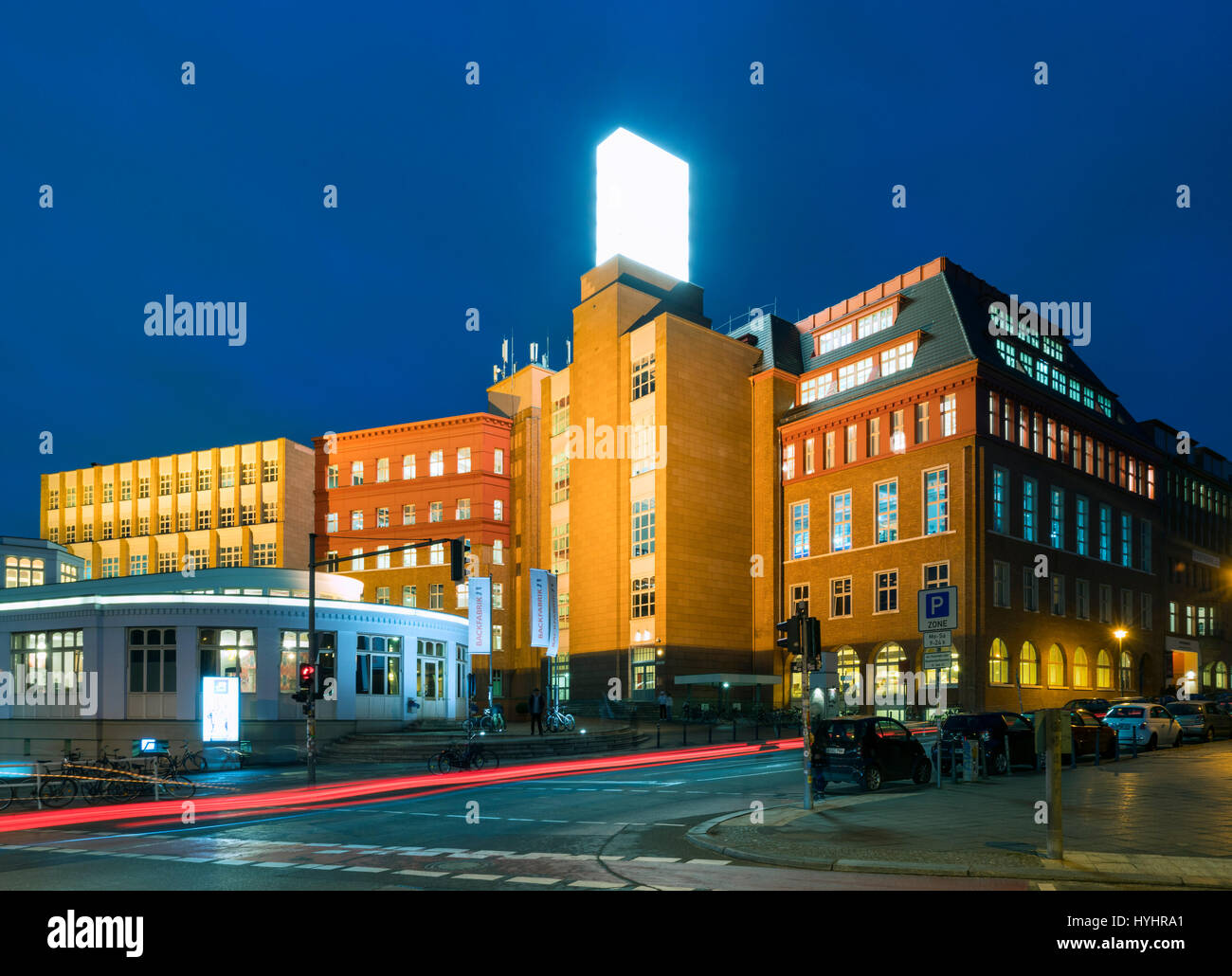 Night view of Backfabrik commercial building containing many start-up companies in Mitte Berlin, Germany Stock Photo