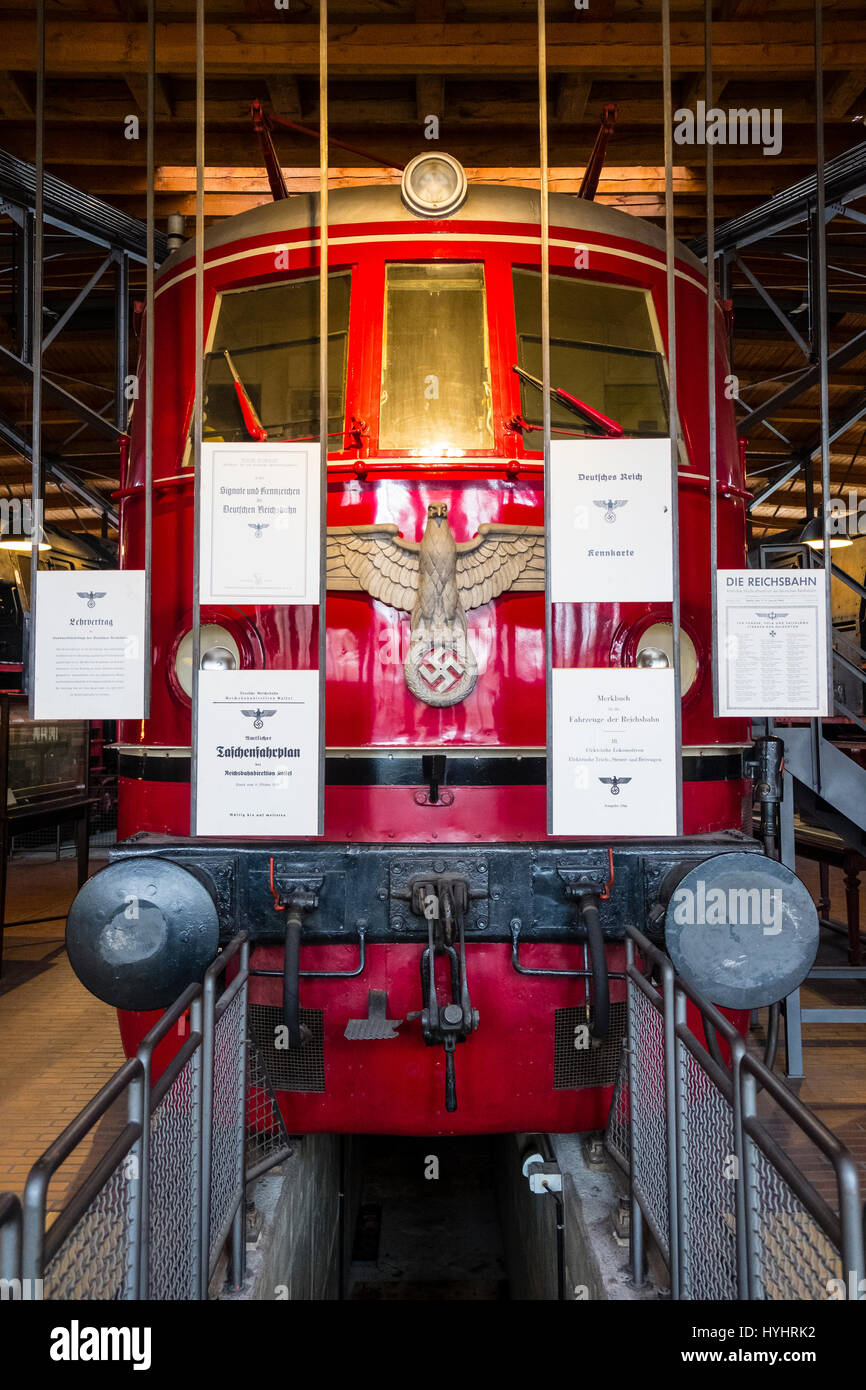 German Reich nazi era train on display at German Museum of Technology in Berlin, Germany - Stock Image