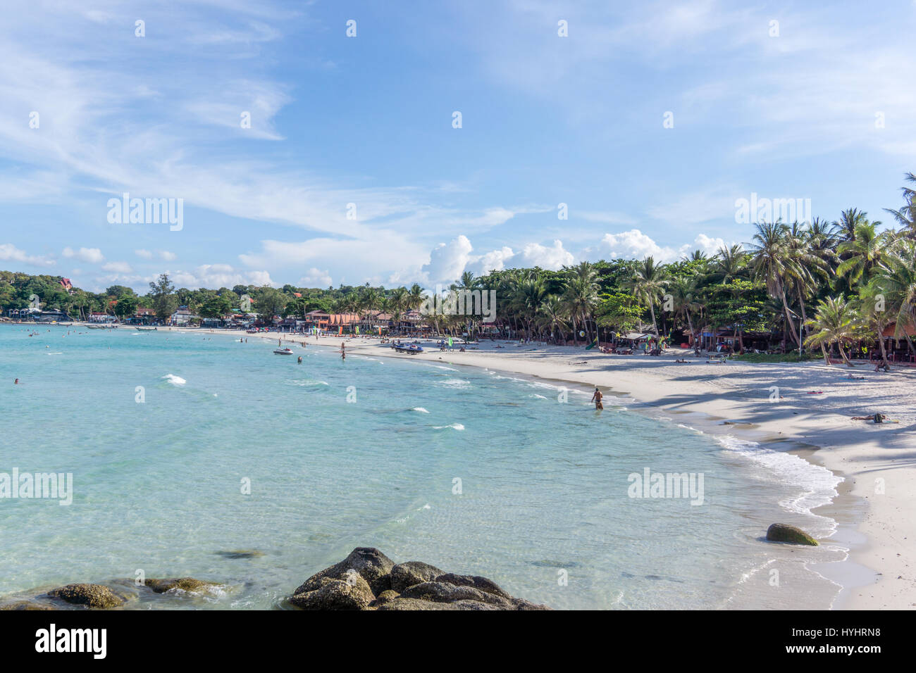 Full moon party beach with crystal clear water,  Haad Rin, Koh Phangan, Thailand - May 5, 2016 - Stock Image