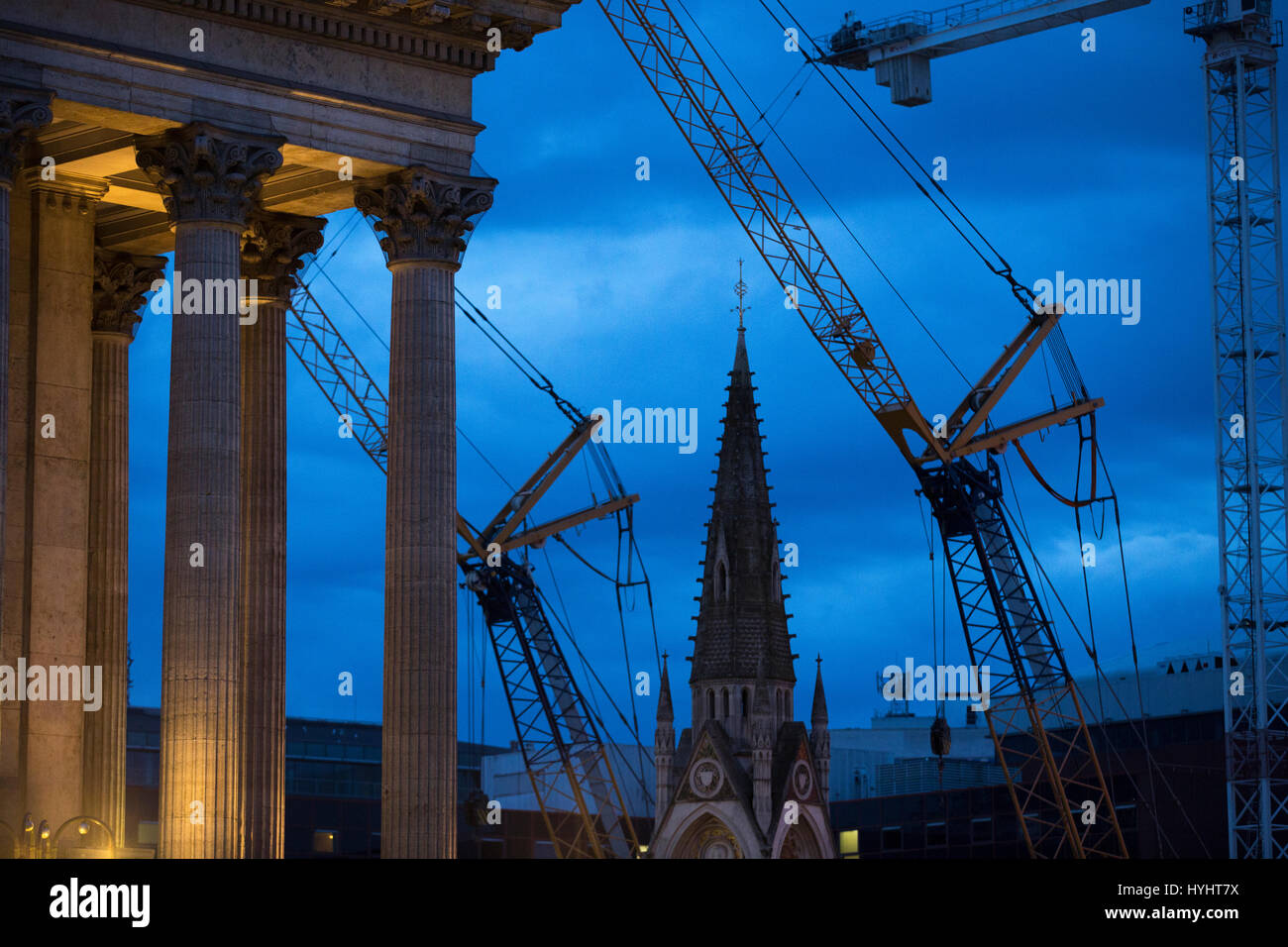 Cranes on a building site in the centre of Birmingham, UK - Stock Image