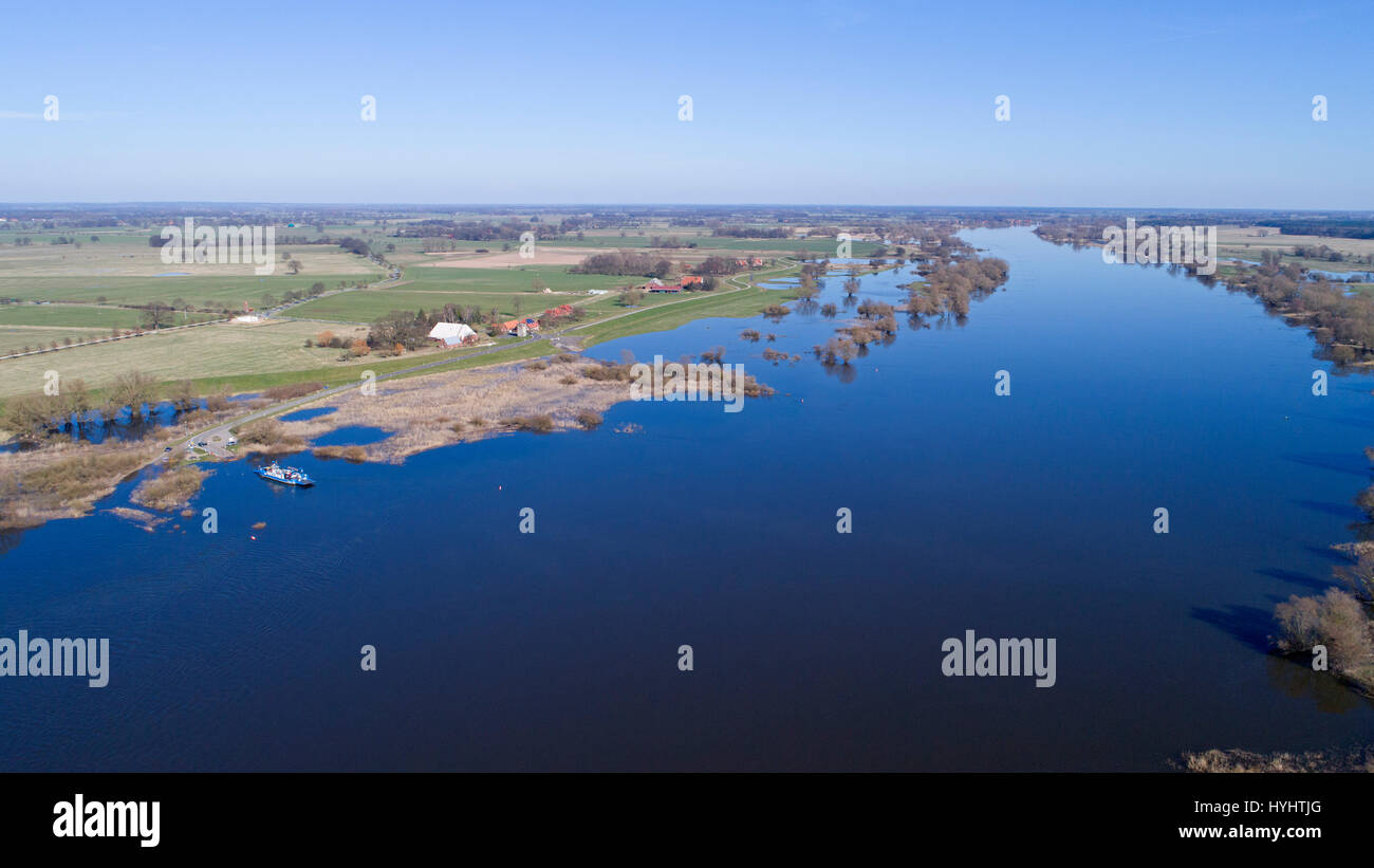 aerial photo of River Elbe near Bleckede, Lower Saxony, Germany - Stock Image