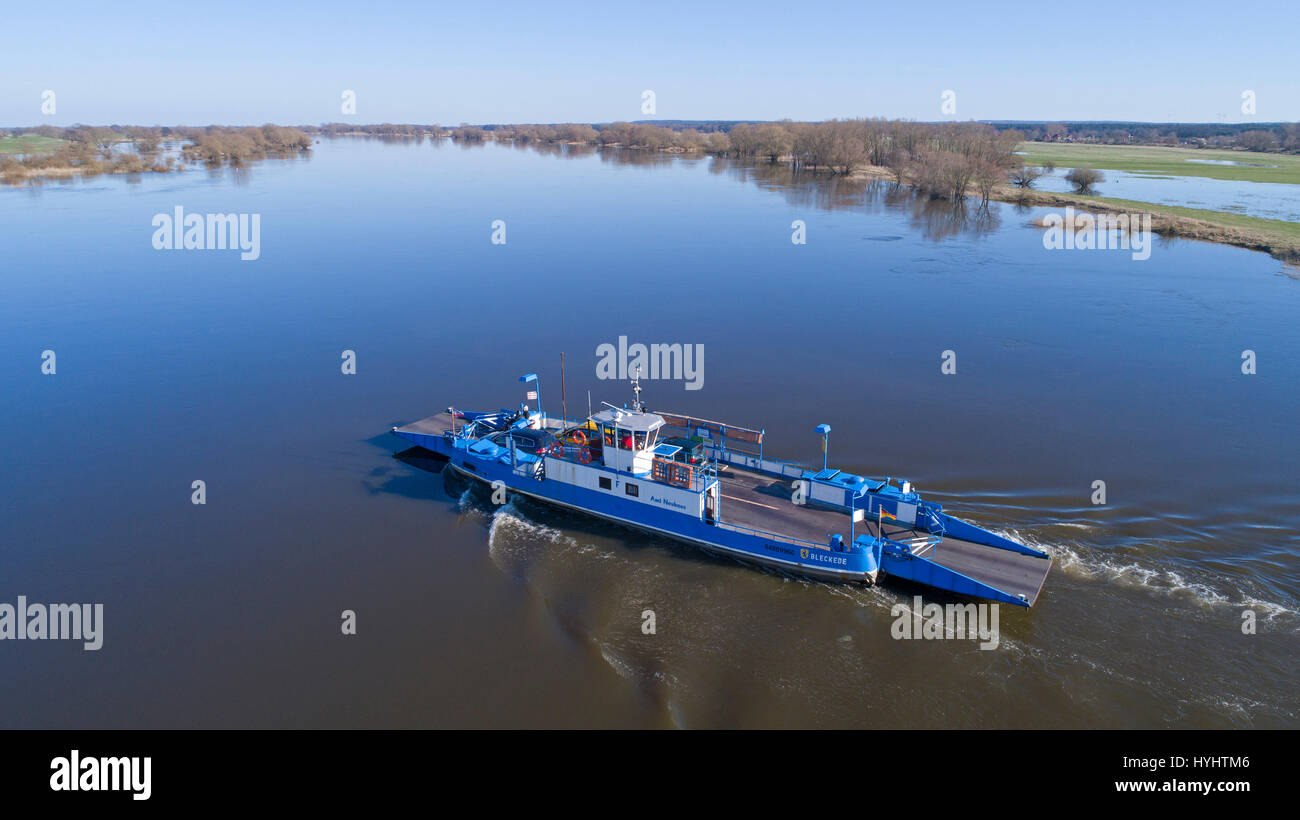 aerial photo of River Elbe Ferry, Bleckede, Lower Saxony, Germany - Stock Image