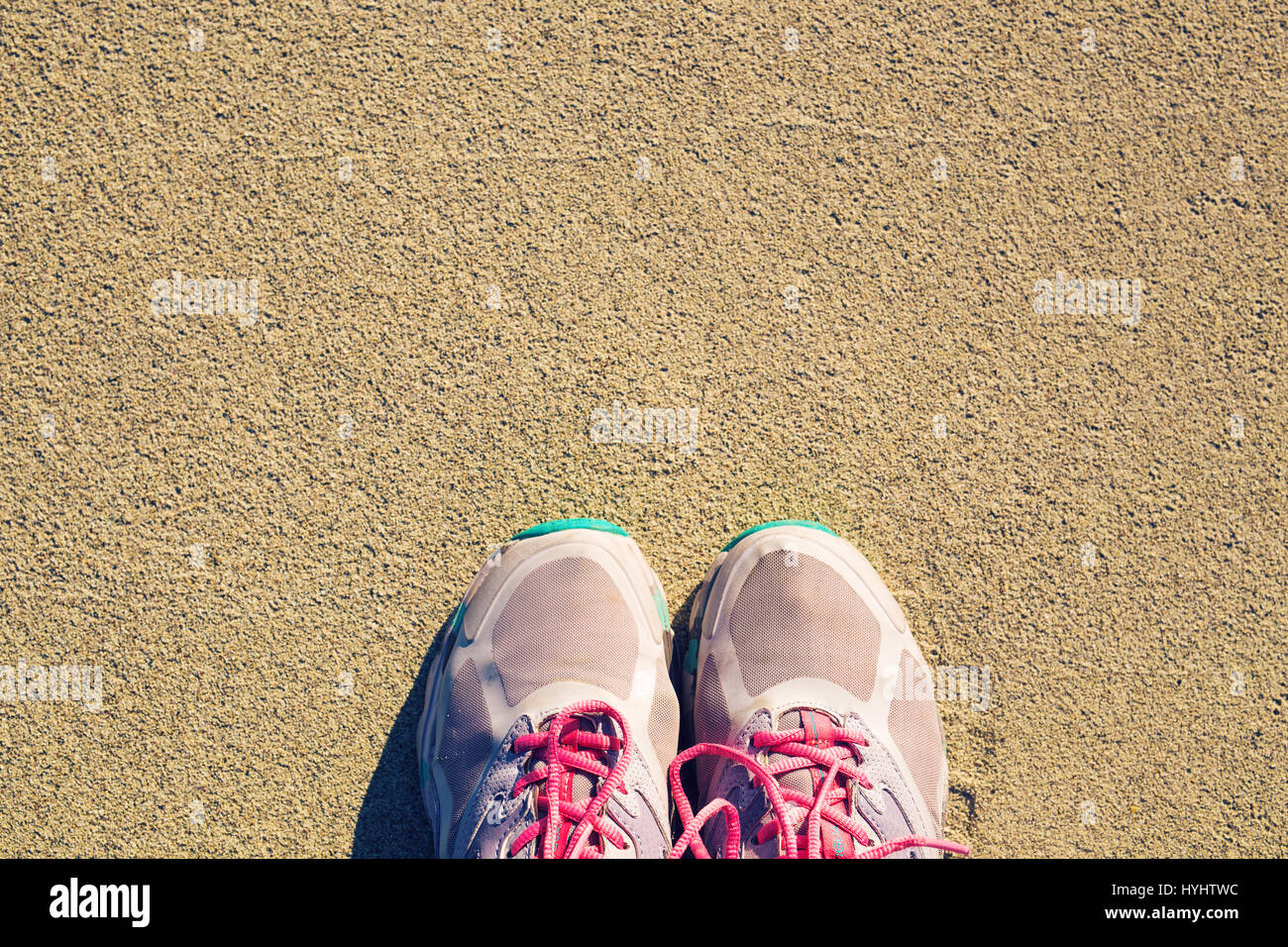 Top View Of Shoes On Tropical Sand Beach Texture Background Copy