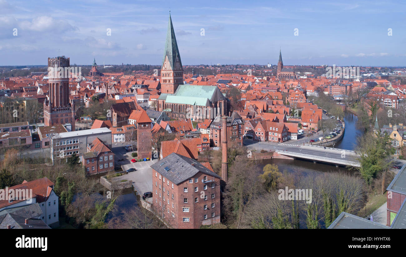 aerial photo, old town, Lueneburg, Lower Saxony, Germany Stock Photo