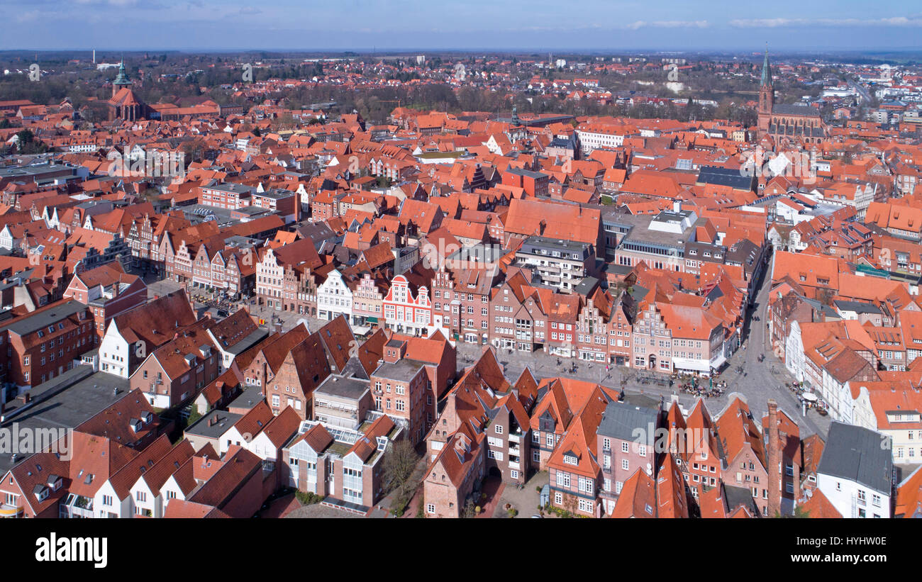 aerial photo, old town, Lueneburg, Lower Saxony, Germany - Stock Image