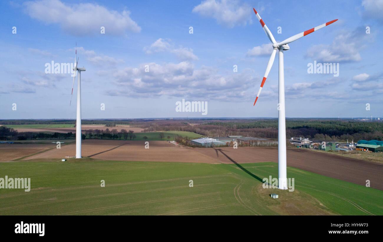 aerial photo of wind power stations in Suedergellersen near Lueneburg, Lower Saxony, Germany - Stock Image
