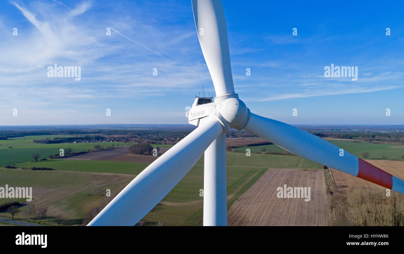 aerial photo of wind power station in Suelbeck near Lueneburg, Lower Saxony, Germany - Stock Image