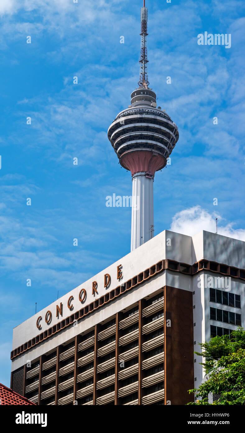 The Kuala Lumpur Tower and Concorde Hotel, Kuala Lumpur, Malaysia - Stock Image
