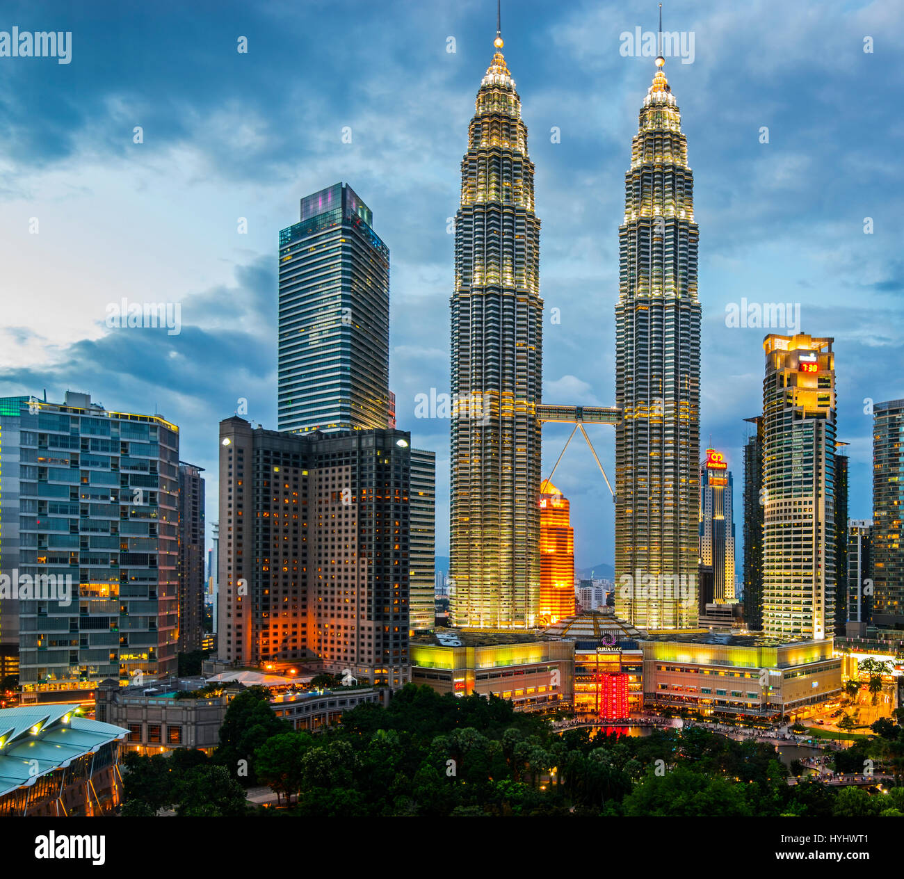 Kuala Lumpur Petronas Twin Towers and City Centre Overview, Malaysia - Stock Image