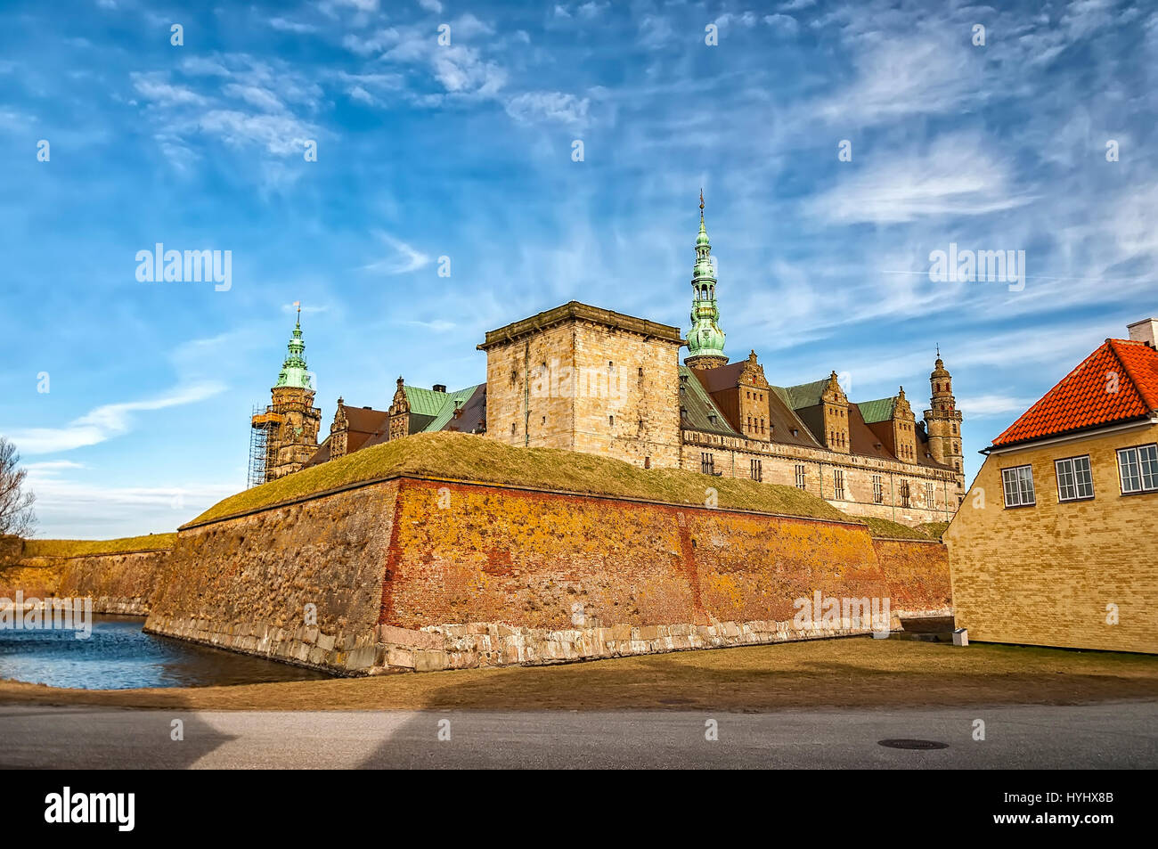 Kronborg castle made famous by William Shakespeare in his play about Hamlet situated in the Danish harbour town - Stock Image