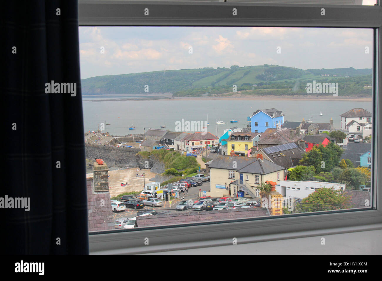 Window view of New Quay Ceredigion, Wales - Stock Image