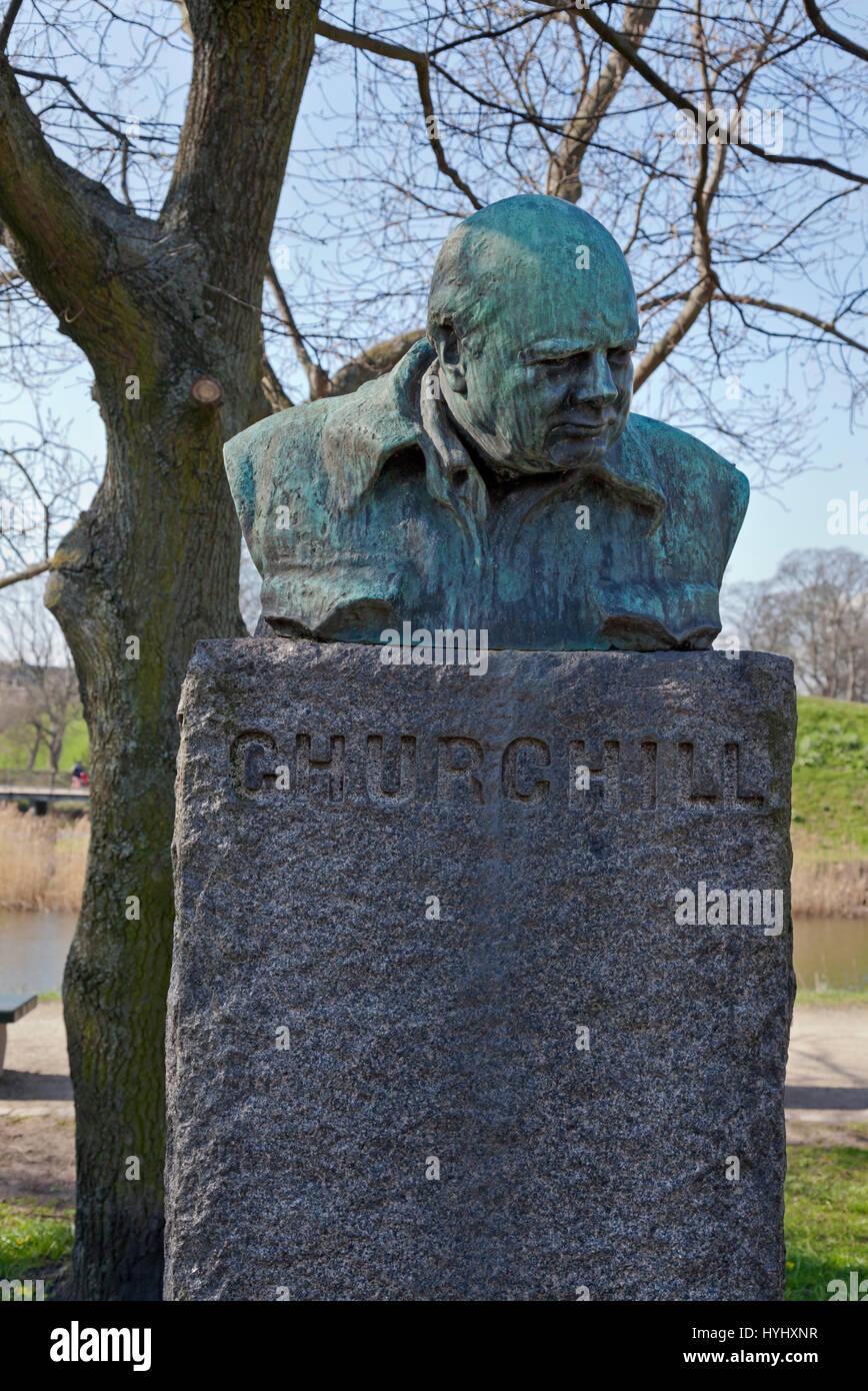 The bust of Churchill in Churchillparken, the Churchill Park, in Copenhagen, Denmark. - Stock Image