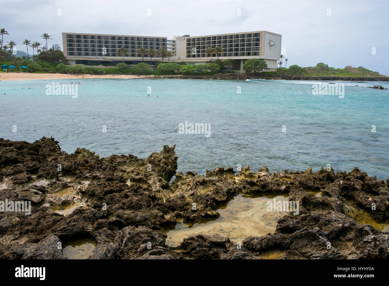TURTLE BAY, OAHU, HAWAII - FEBRUARY 19, 2017: Backside of the famed Turtle Bay Resort on the North Shore of Oahu - Stock Image