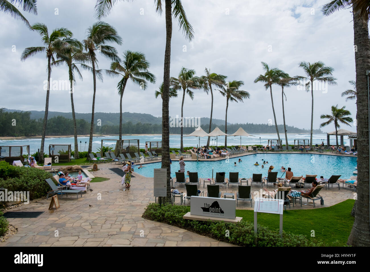 TURTLE BAY, OAHU, HAWAII - FEBRUARY 19, 2017: Pool and famed restaurant The Point at Turtle Bay Resort on the Northshore - Stock Image