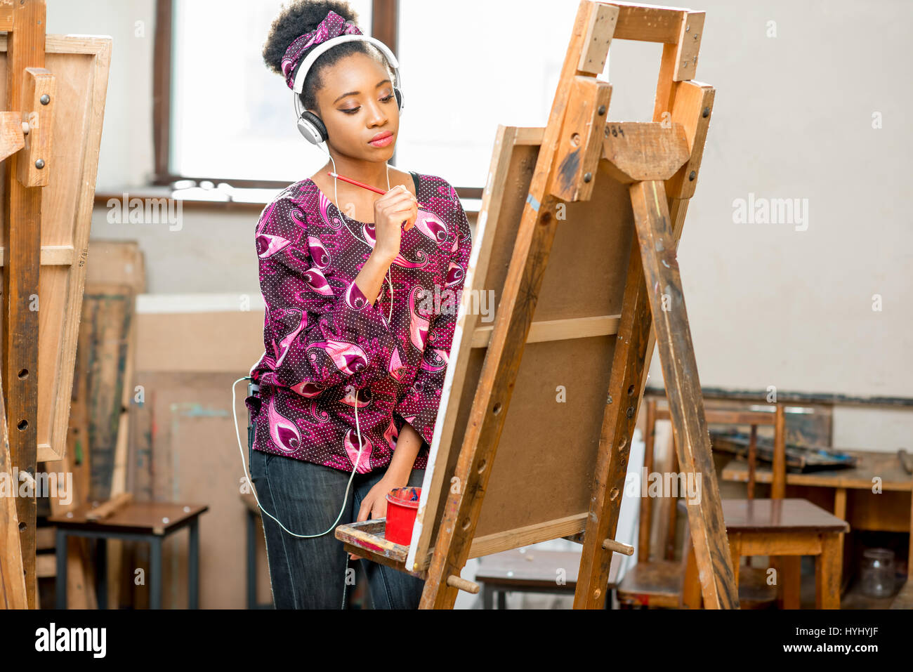 Student drawing at the university - Stock Image