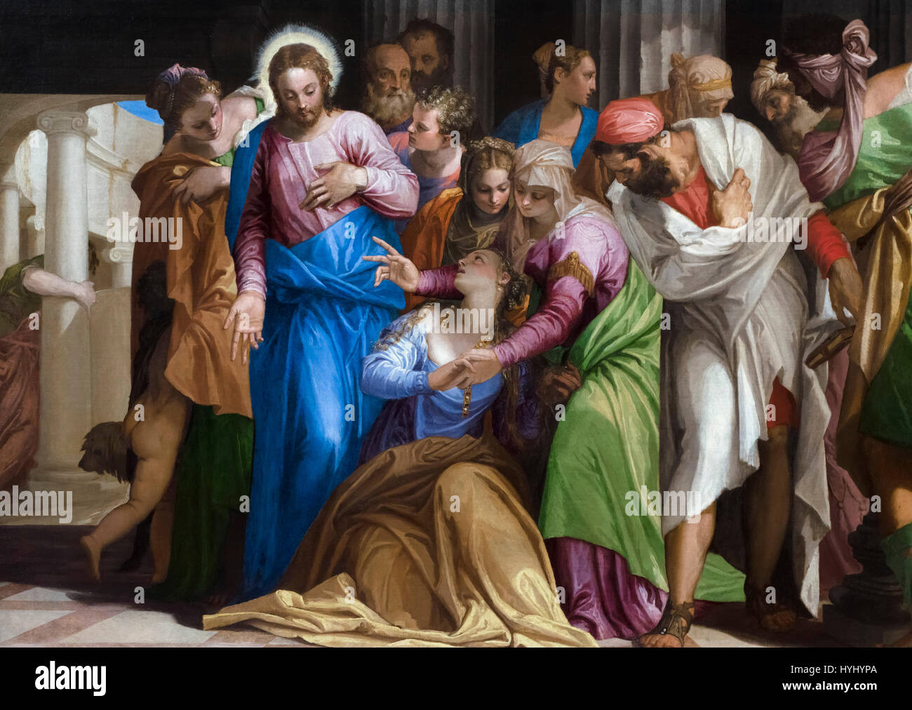 The Conversion of Mary Magdalene by Paolo Veronese (c.1528-1588), oil on canvas, 1548 - Stock Image