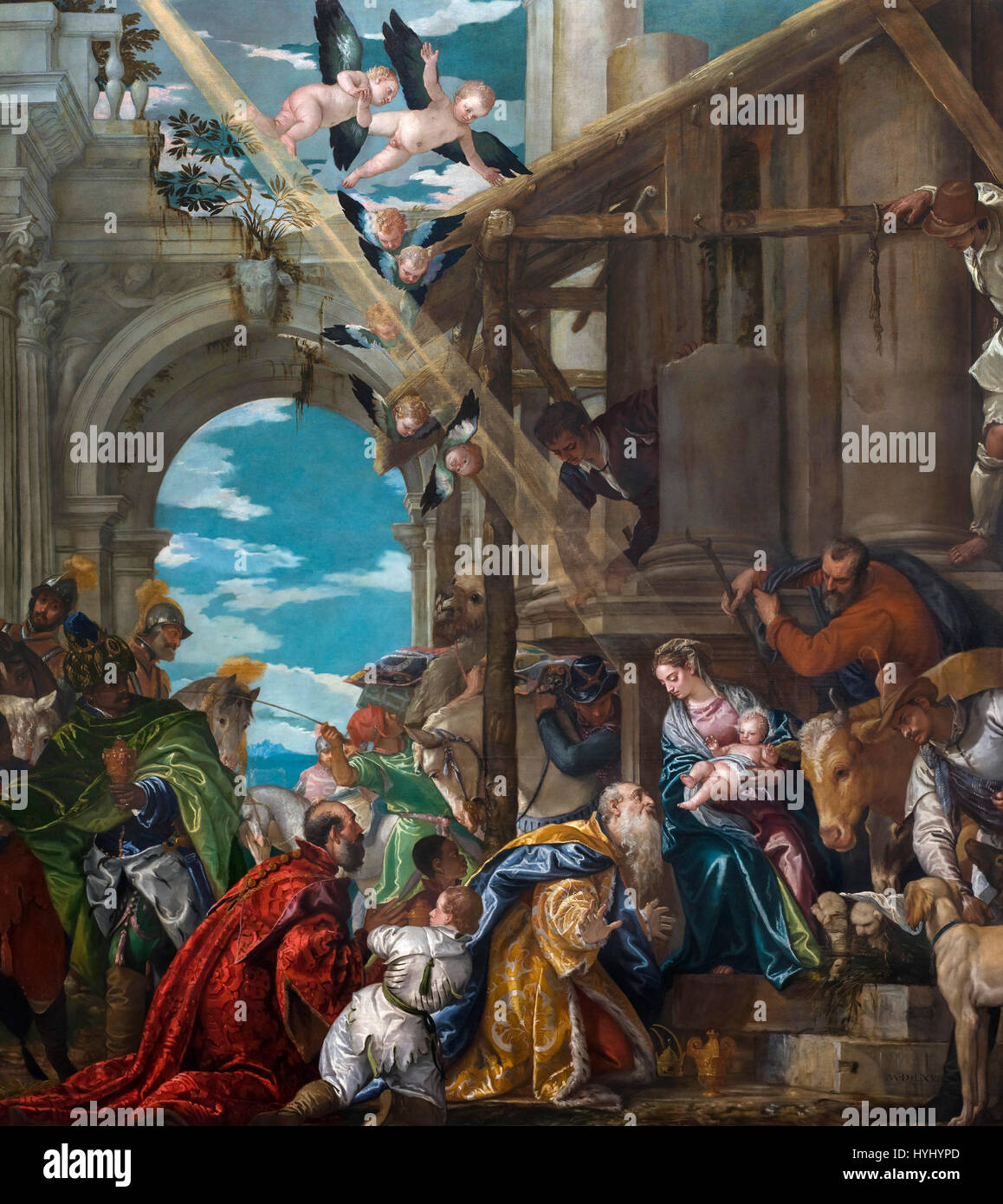 The Adoration of the Kings (Adoration of the Magi) by Paolo Veronese (c.1528-1588), oil on canvas, 1573. - Stock Image