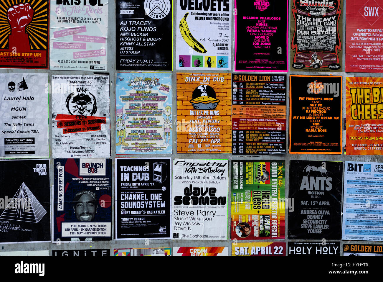 Gig advertising posters in Bristol city centre, UK - Stock Image