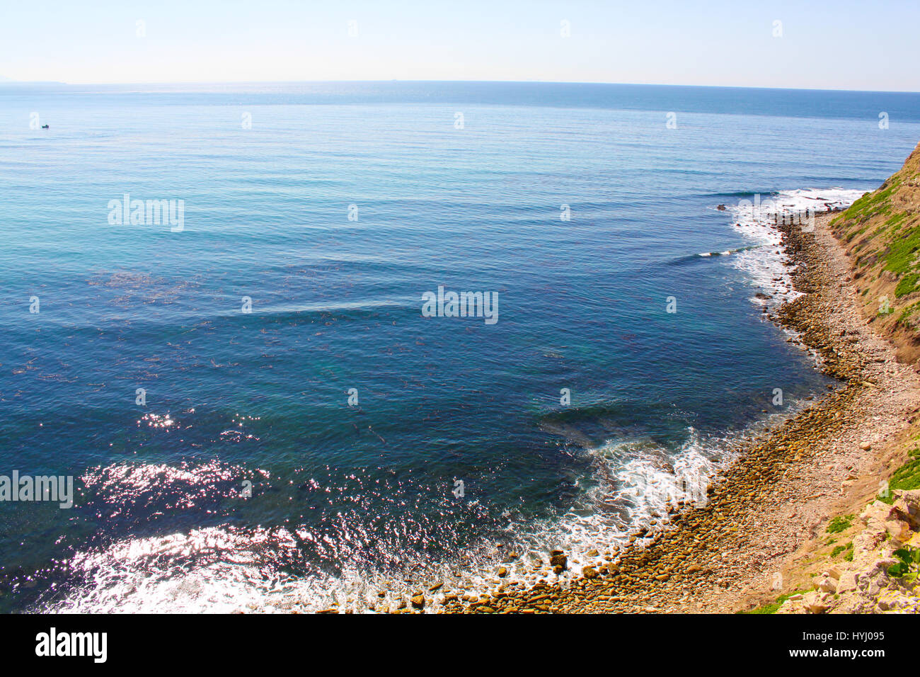 Viewpoint at Palos Verdes overlooking the Pacific Ocean. - Stock Image
