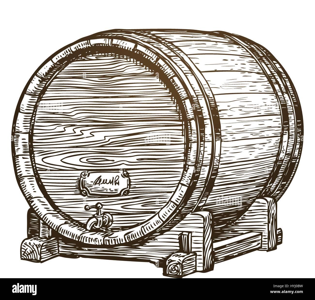 Hand drawn vintage wooden wine cask. Drink, oak barrel sketch. Vector illustration Stock Vector