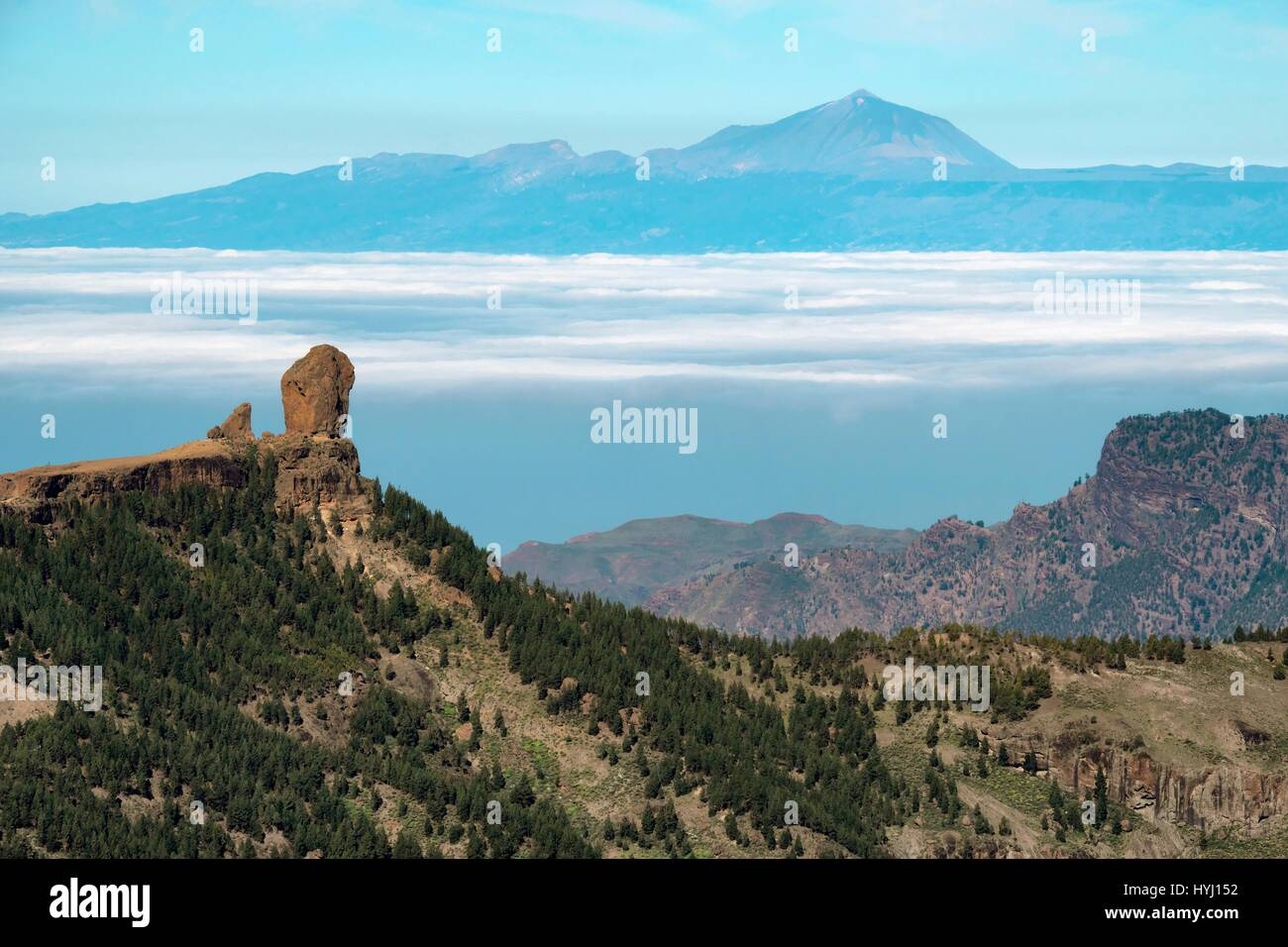 Parque Rural del Nublo with the Roque Nublo, at back the volcano Teide on Tenerife, Gran Canaria, Canary Islands, Stock Photo
